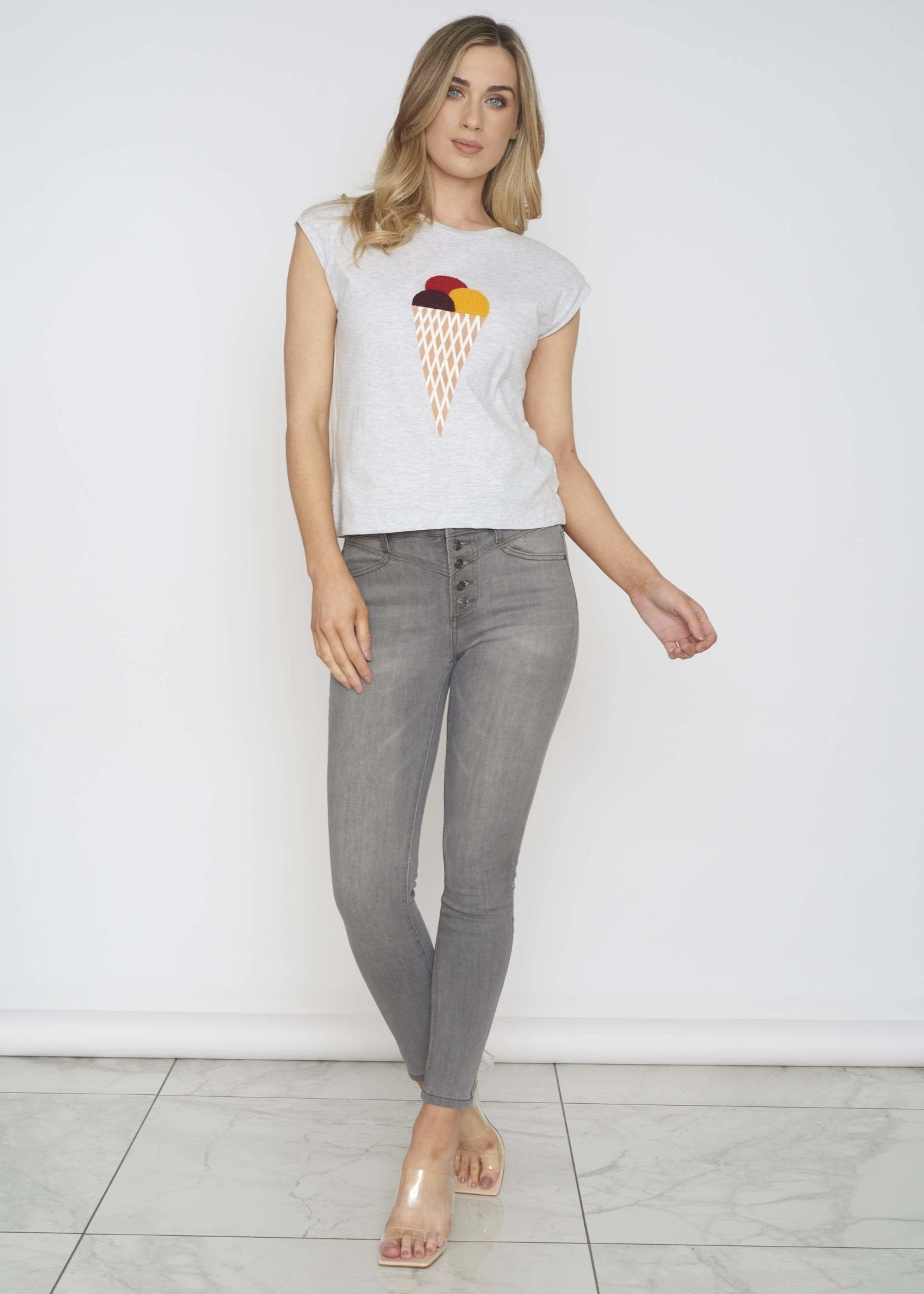 Frankie Ice Cream T-Shirt In Grey - The Walk in Wardrobe