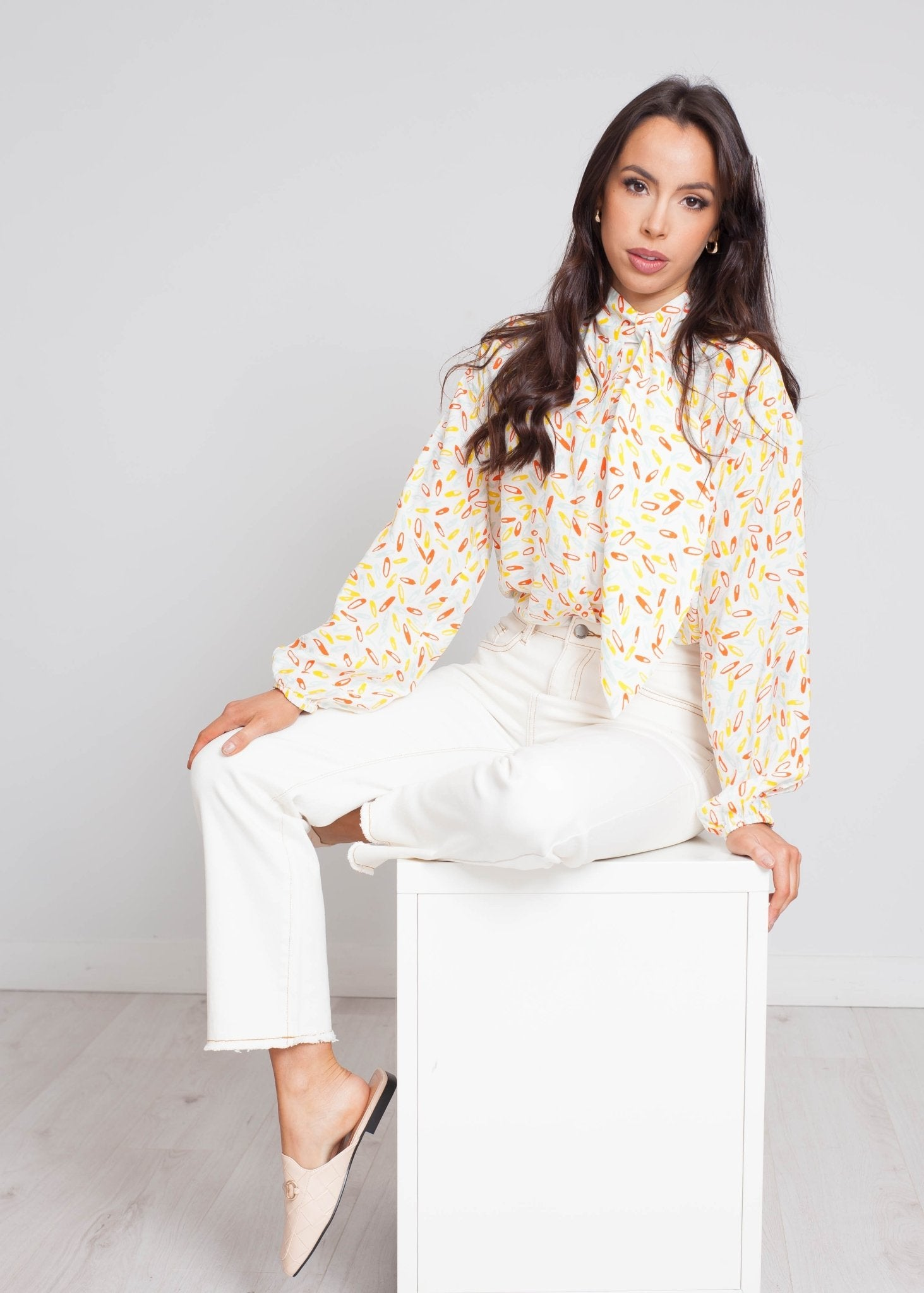Frankie Longline Printed Shirt In Cream - The Walk in Wardrobe