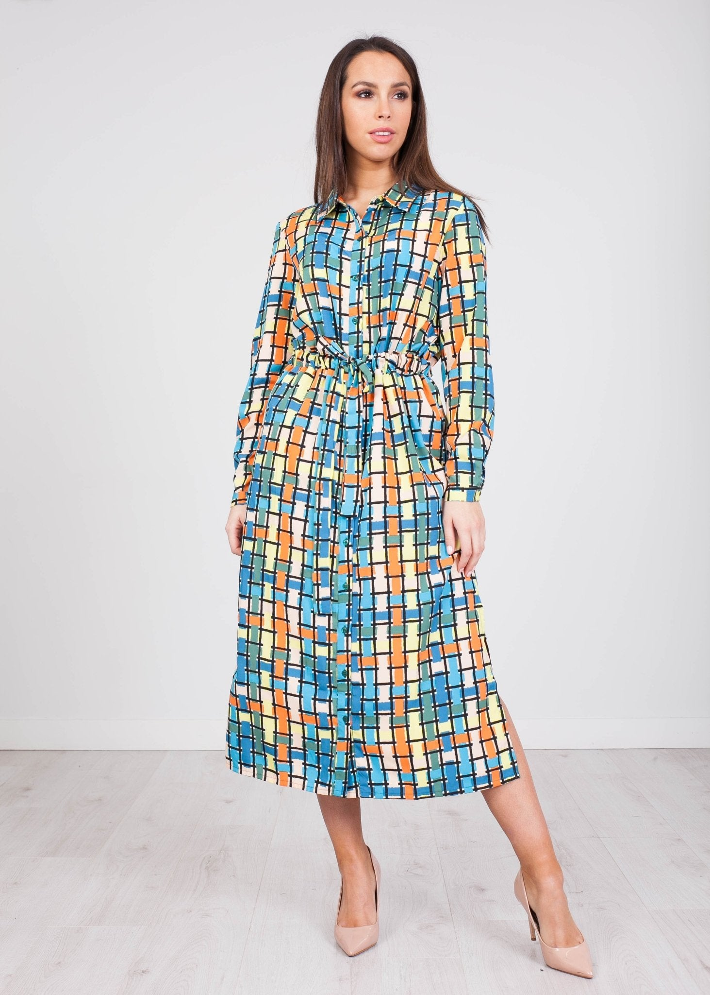 Frankie Multicoloured Midi Dress - The Walk in Wardrobe