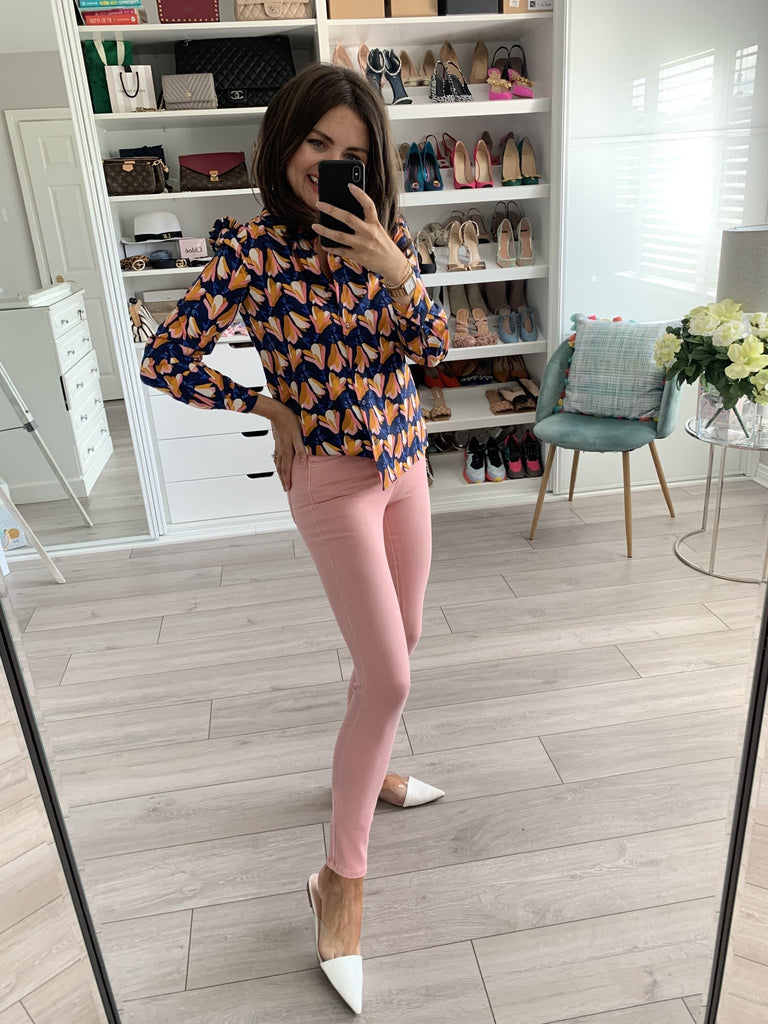 Frankie Navy & Pink Floral Shirt - The Walk in Wardrobe