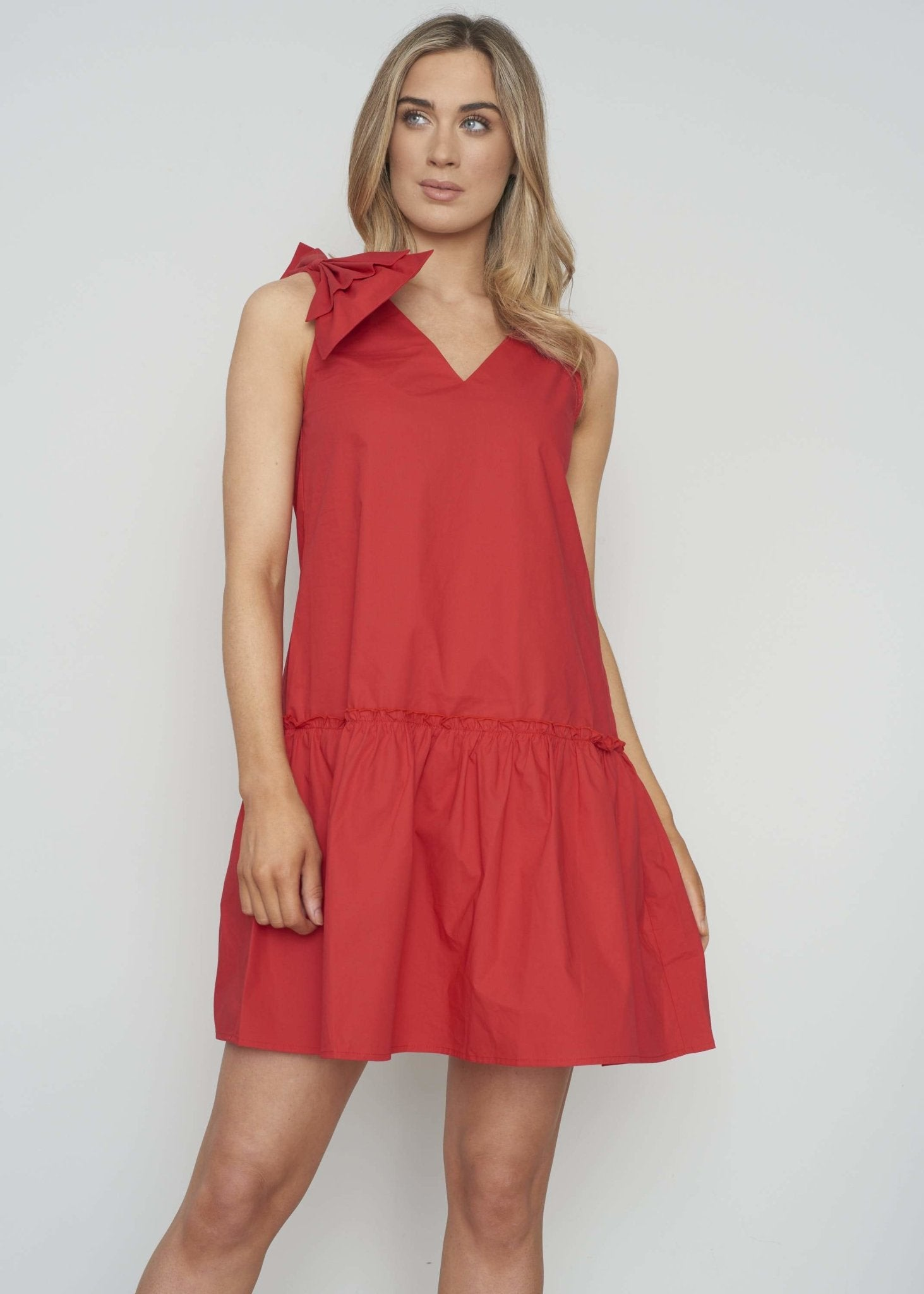Frankie Peplum Bow Dress In Red - The Walk in Wardrobe