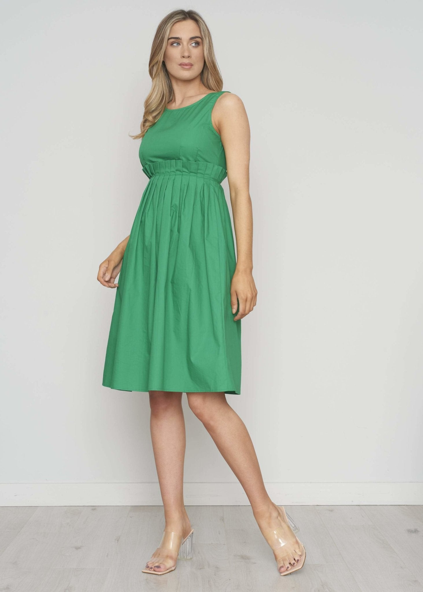 Frankie Pleated Waist Dress In Green - The Walk in Wardrobe
