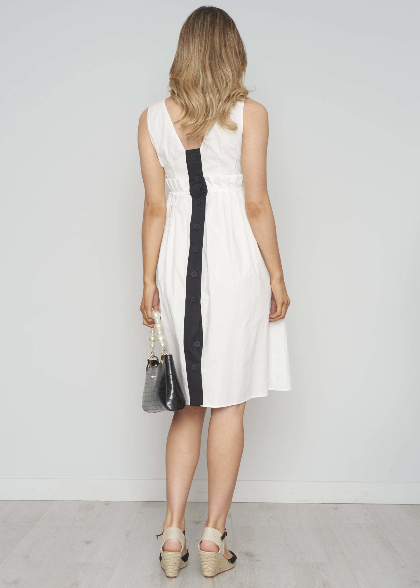 Frankie Pleated Waist Dress In White - The Walk in Wardrobe