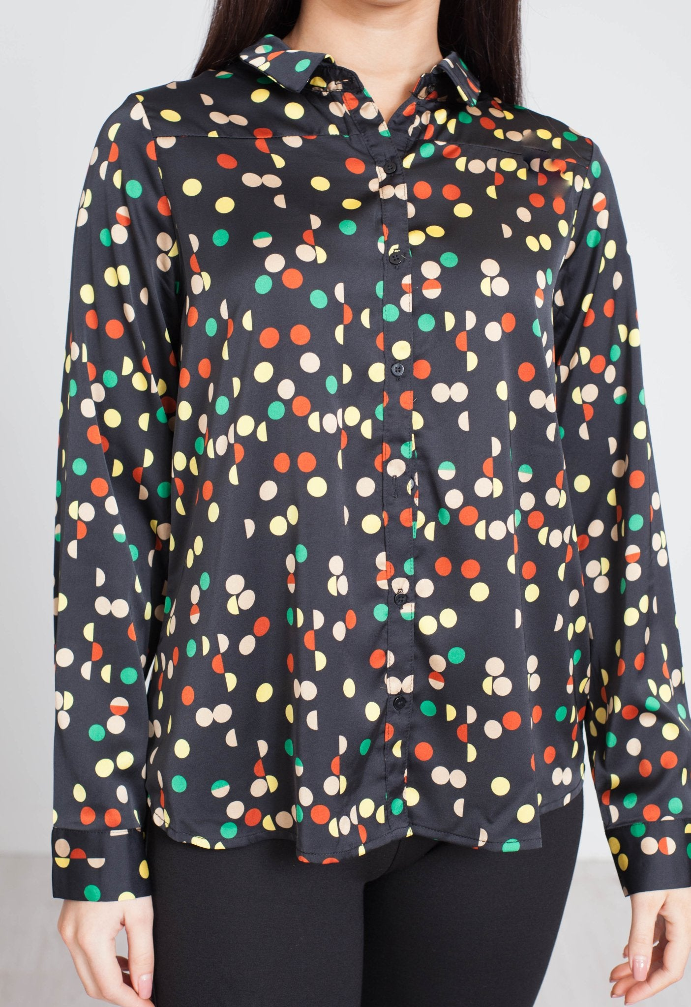 Frankie Polka Dot Shirt In Black - The Walk in Wardrobe