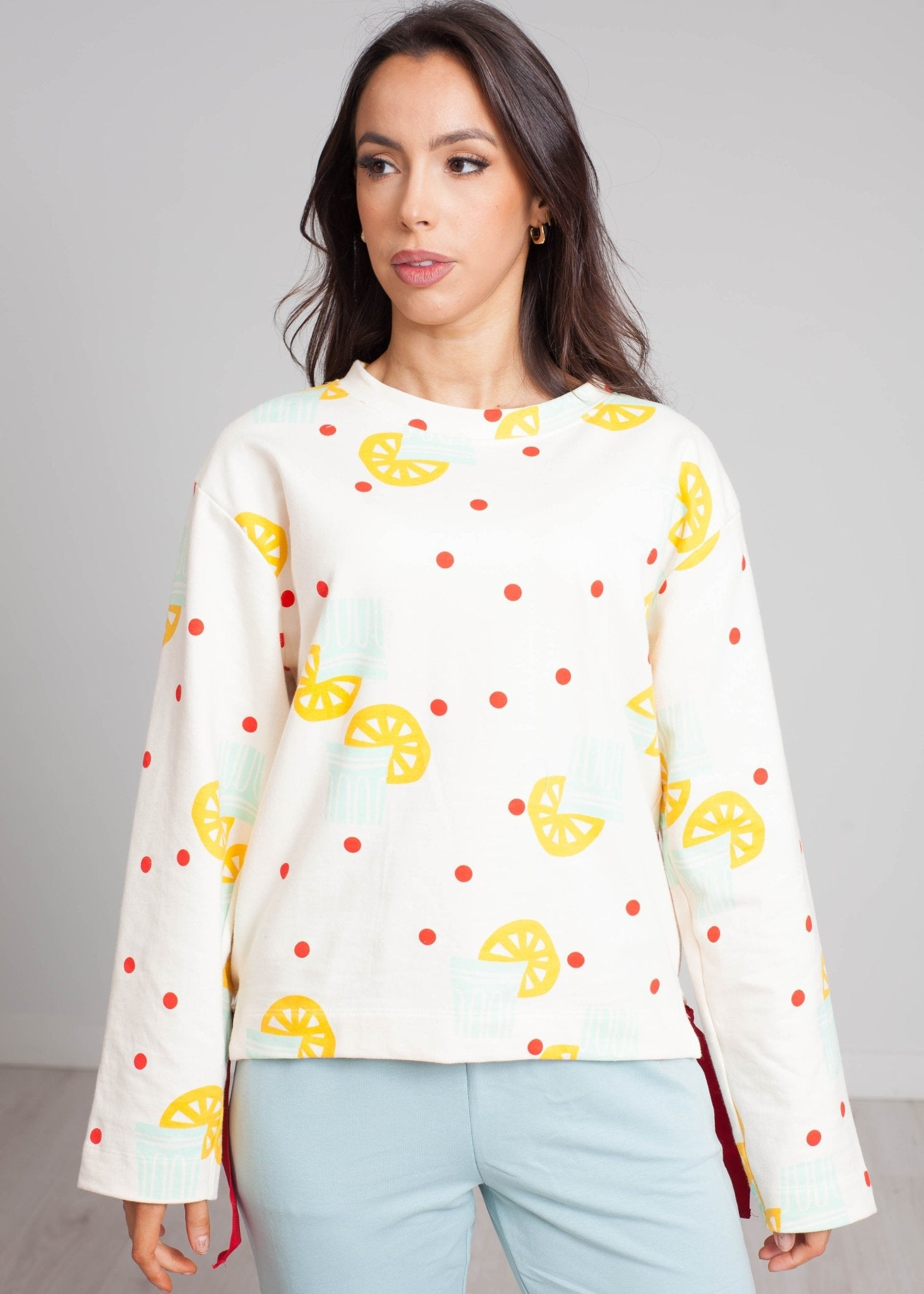Frankie Printed Sweatshirt In Cream - The Walk in Wardrobe