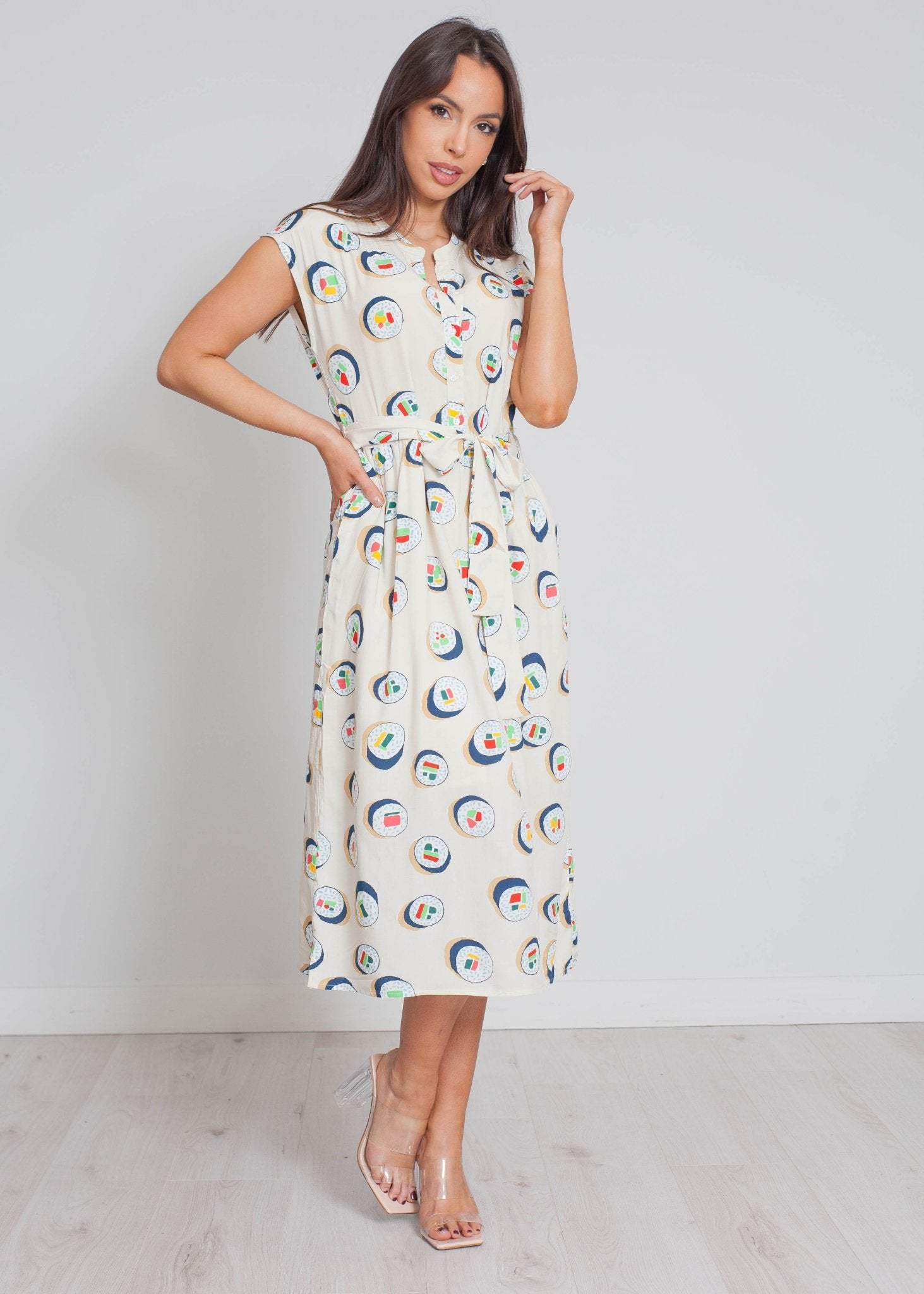 Frankie Sleeveless Sushi Print Dress In Neutral - The Walk in Wardrobe