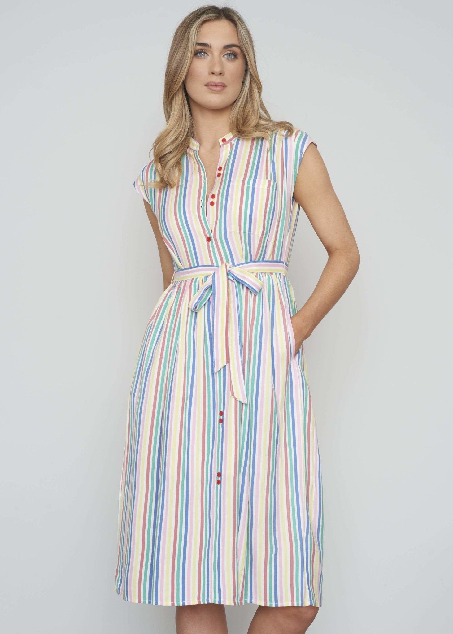 Frankie Stripe Shirt Dress In Multicolour - The Walk in Wardrobe
