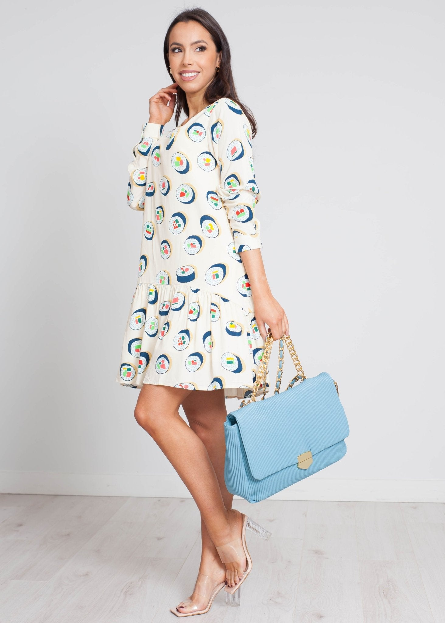 Frankie Sushi Print Dress In Neutral - The Walk in Wardrobe