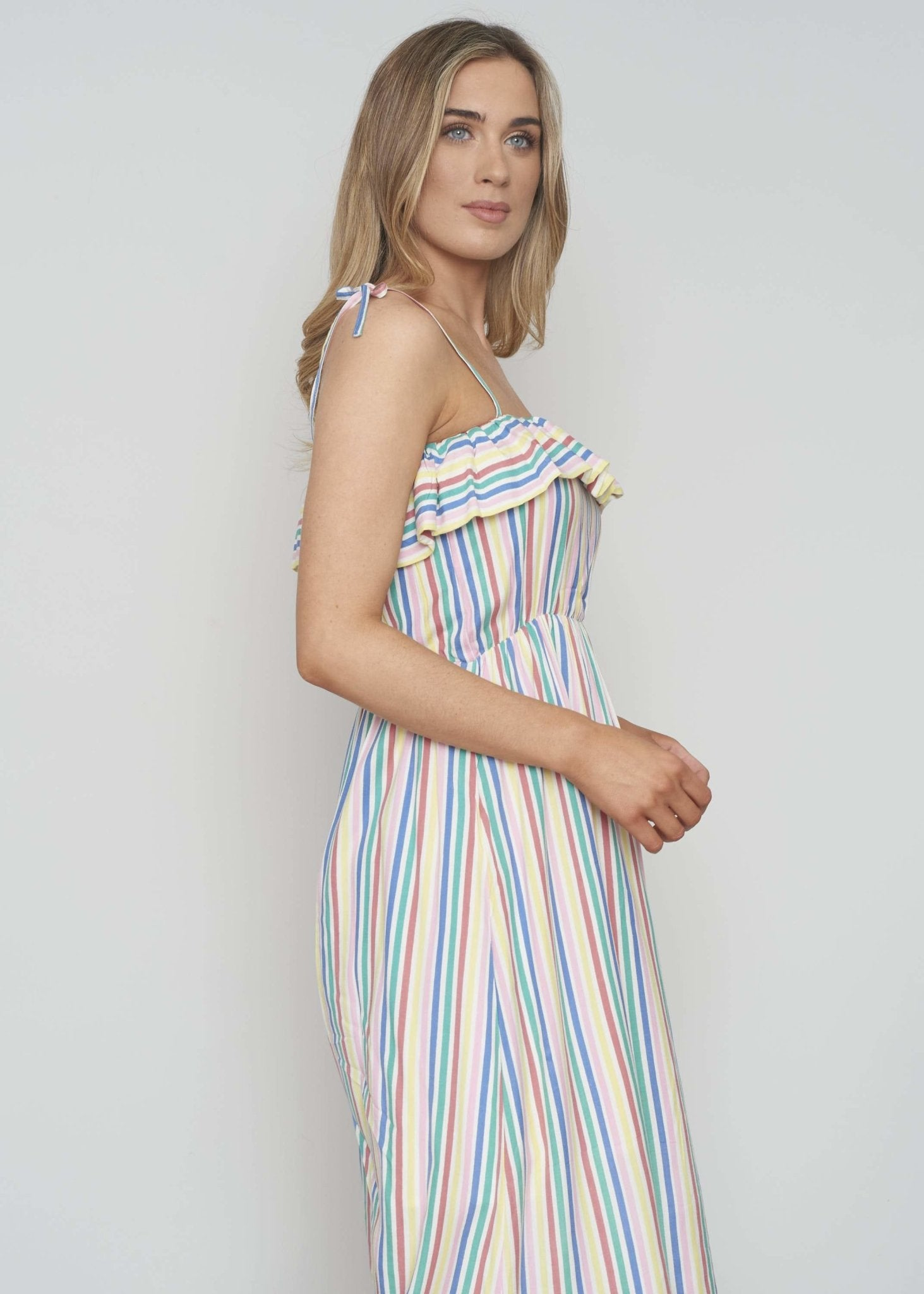 Frankie Tie Strap Dress In Multicolour - The Walk in Wardrobe