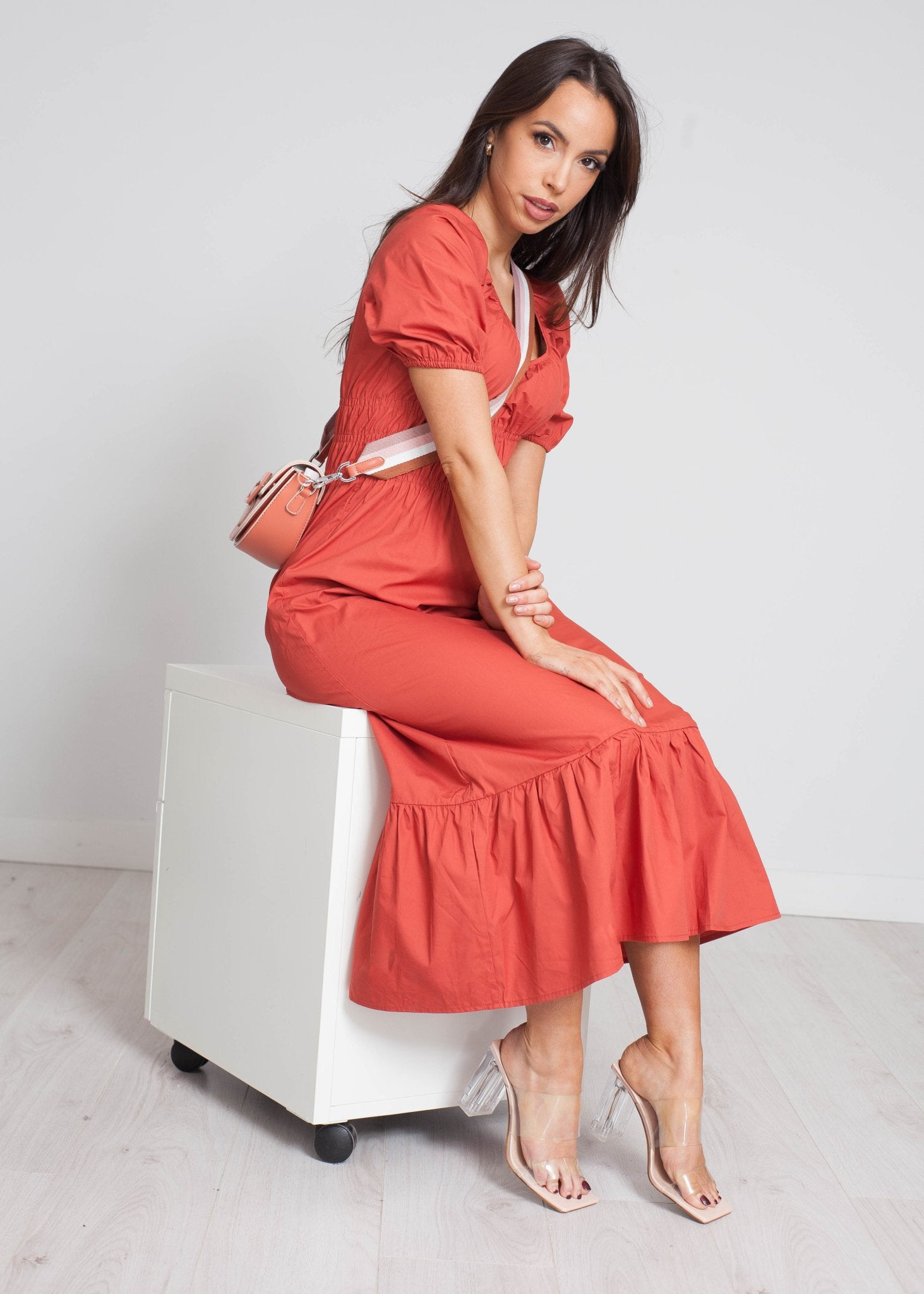 Frankie Tiered Dress In Rust - The Walk in Wardrobe