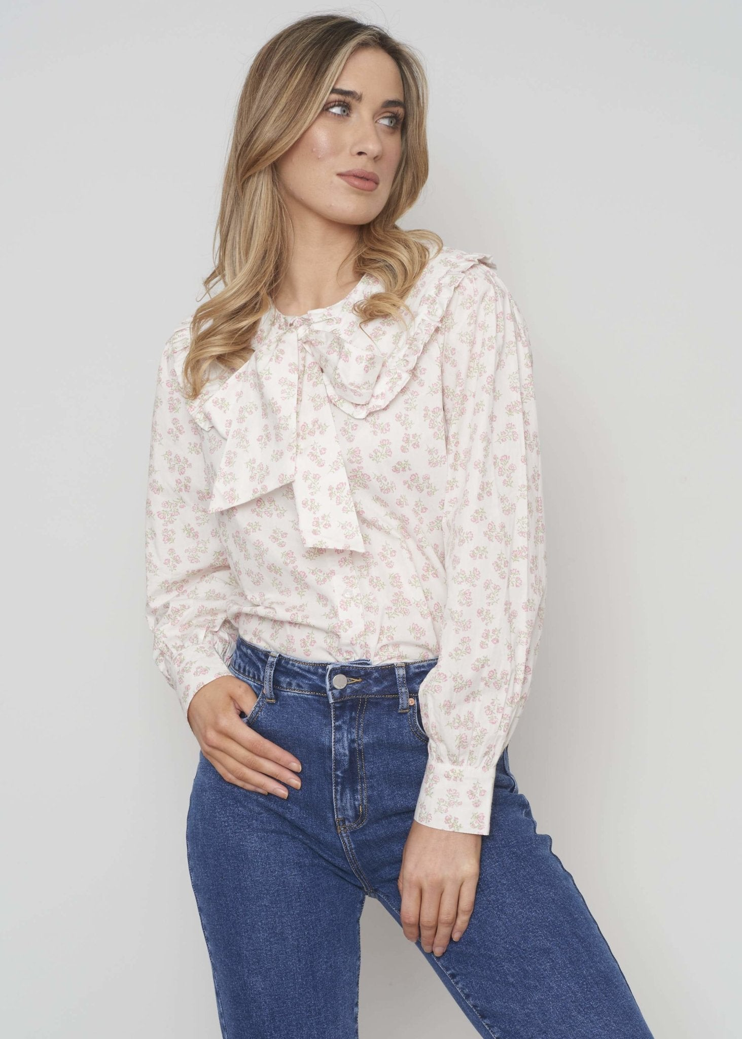 Freya Bow Collar Blouse In Cream Floral - The Walk in Wardrobe