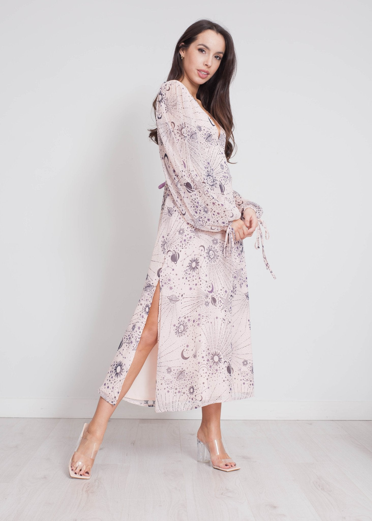 Freya Celestial Print Dress In Blush - The Walk in Wardrobe