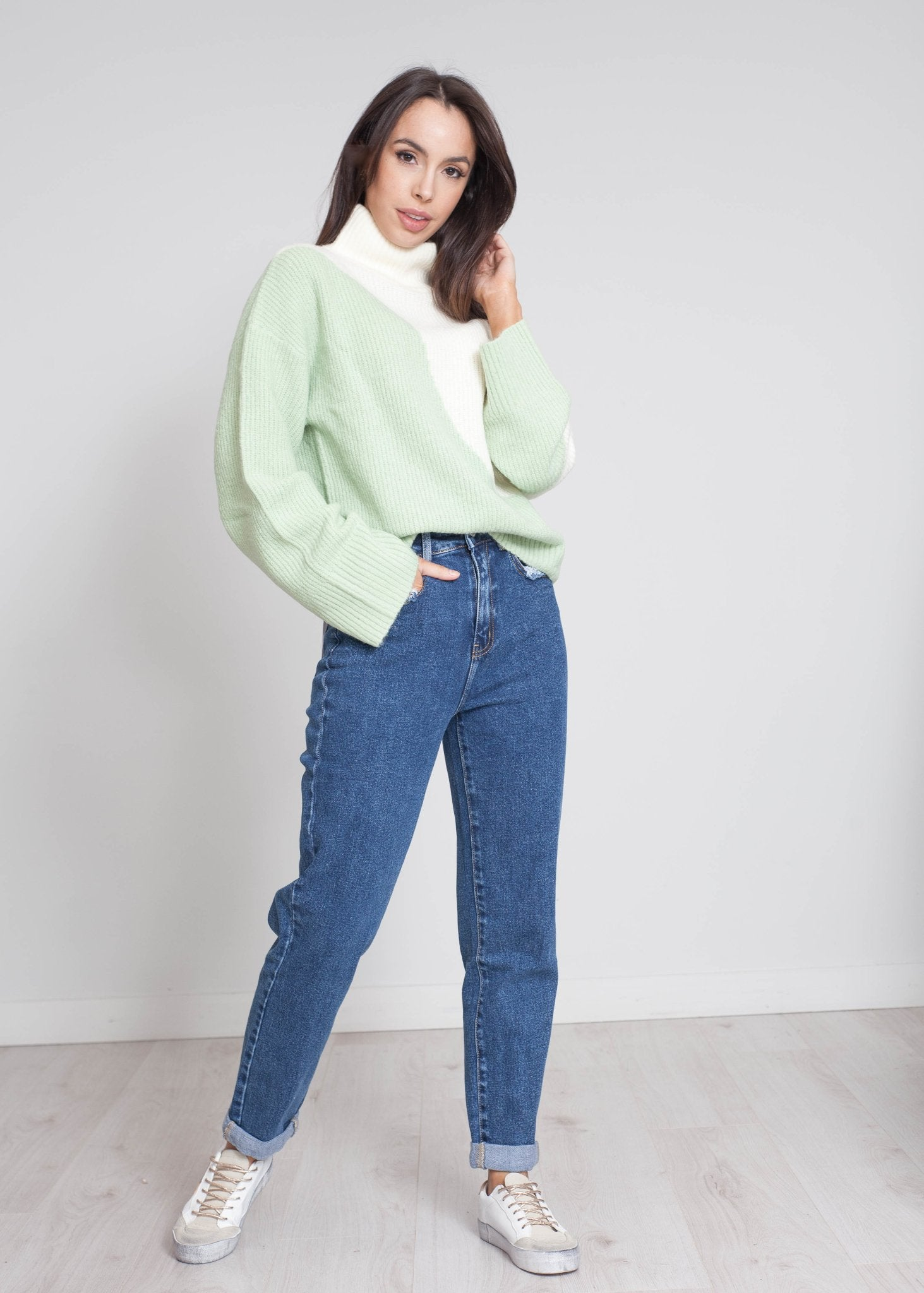 Freya Contrast Polo Neck In Green Mix - The Walk in Wardrobe