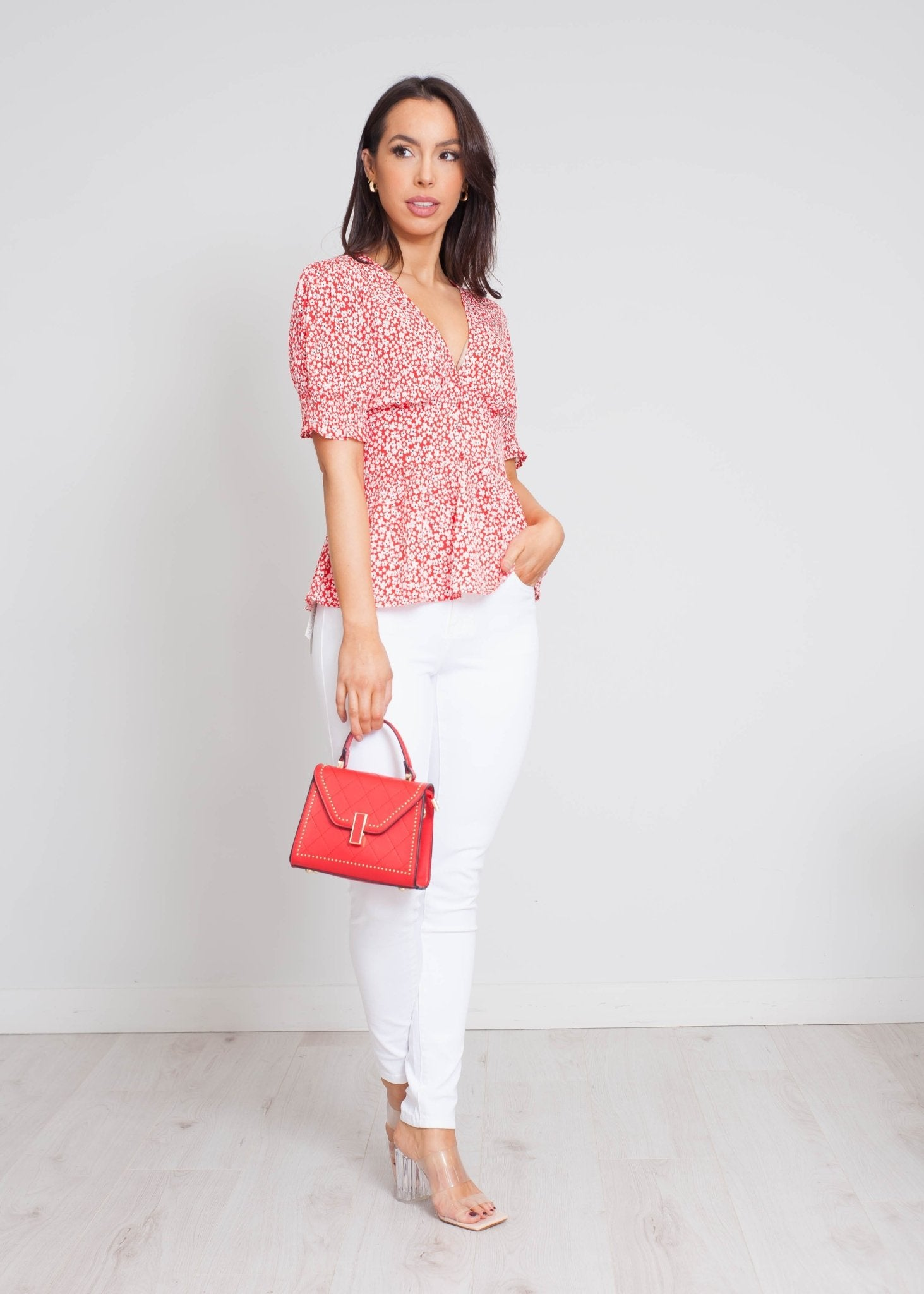 Freya Floral Blouse In Red - The Walk in Wardrobe