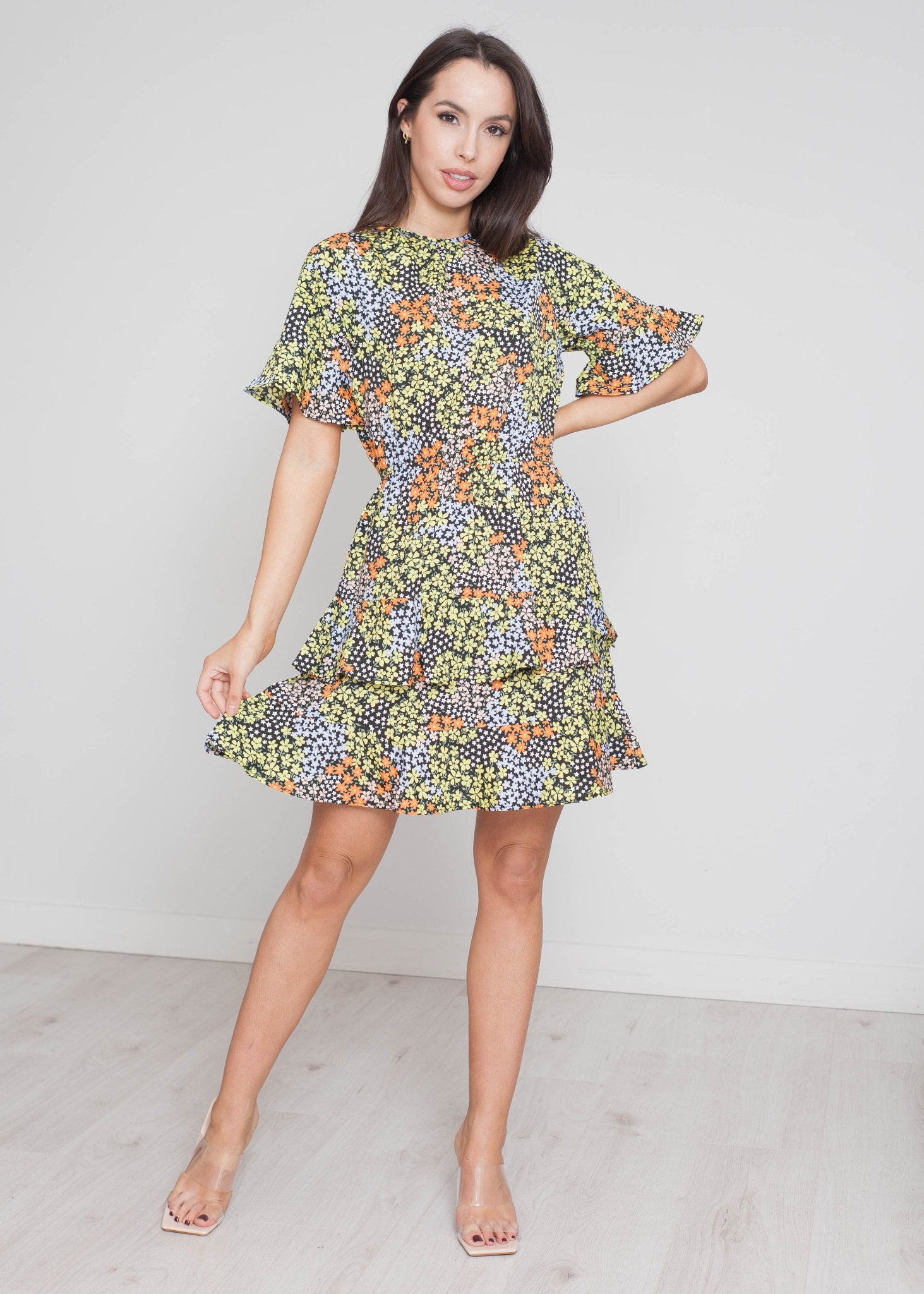 Freya Floral Dress In Multi - The Walk in Wardrobe