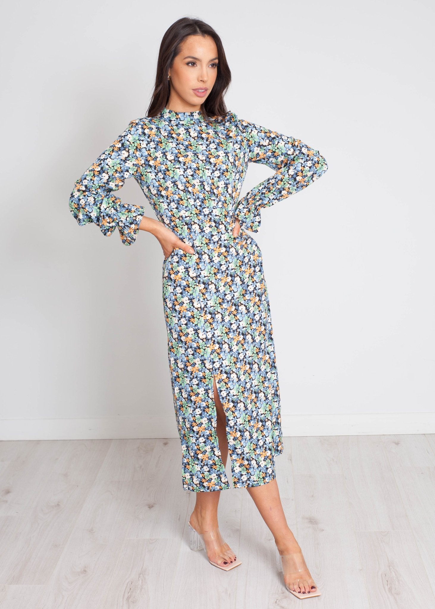 Freya Floral Midi Dress In Blue Mix - The Walk in Wardrobe