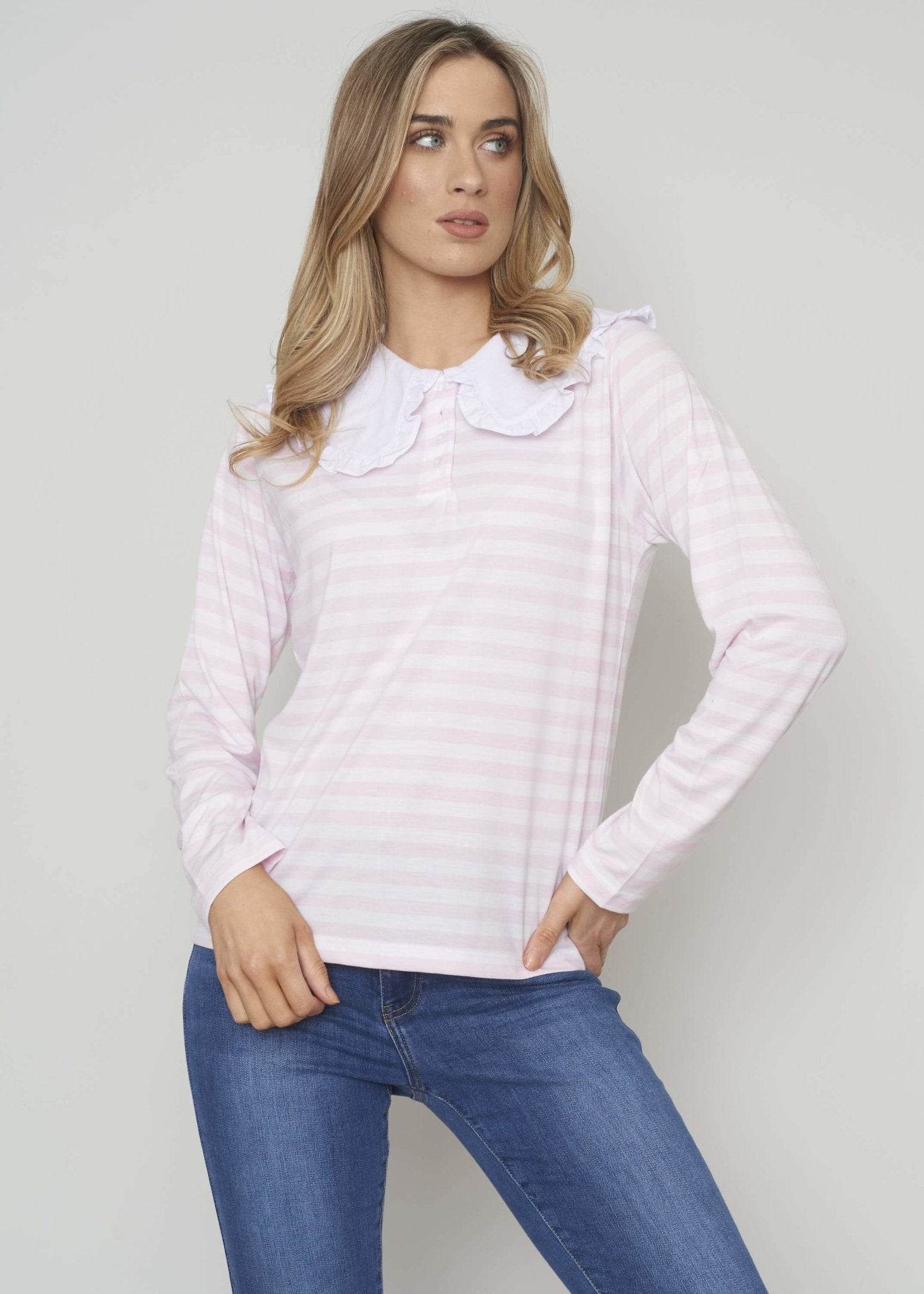 Freya Frill Collar Top In Pink Stripe - The Walk in Wardrobe