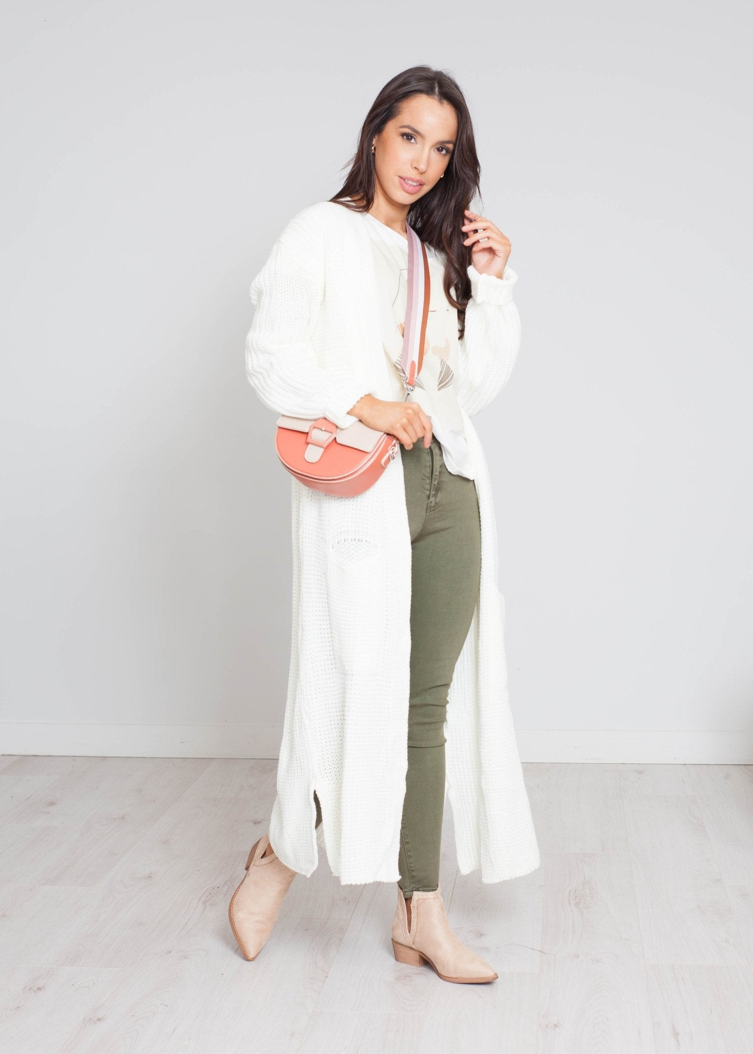 Freya Longline Knit Cardigan In Cream - The Walk in Wardrobe