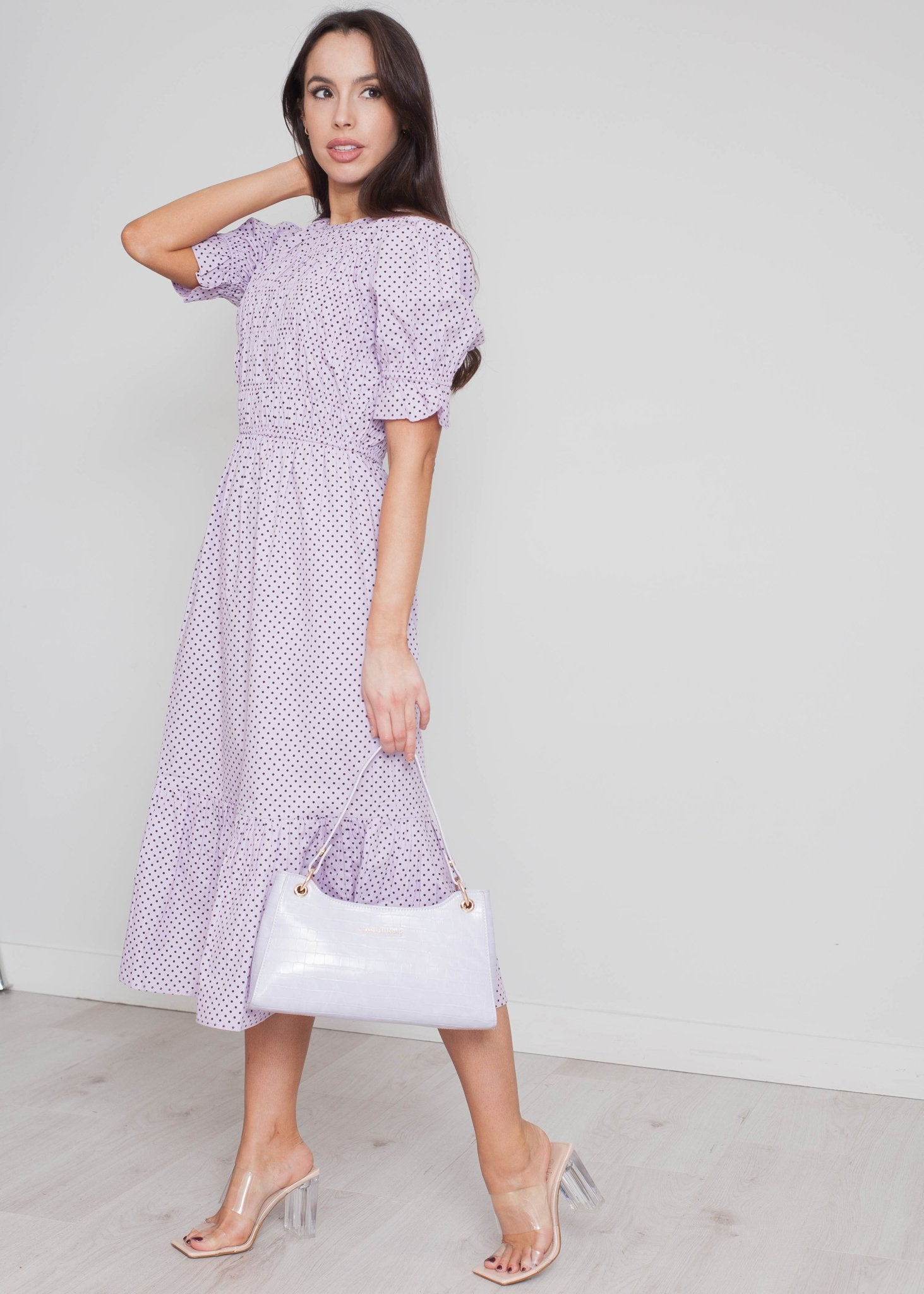 Freya Polka Dot Midi Dress In Lilac - The Walk in Wardrobe