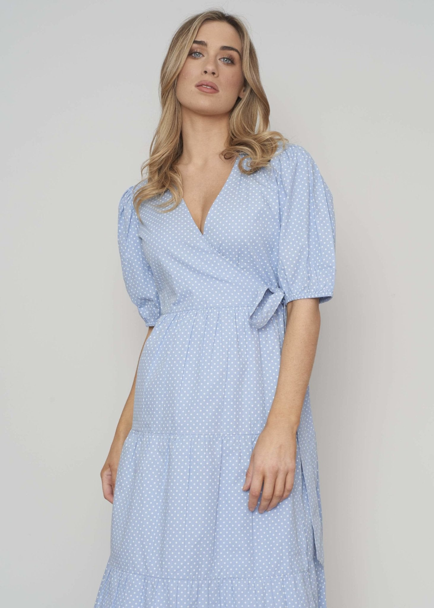 Freya Polka Dot Wrap Dress In Blue - The Walk in Wardrobe
