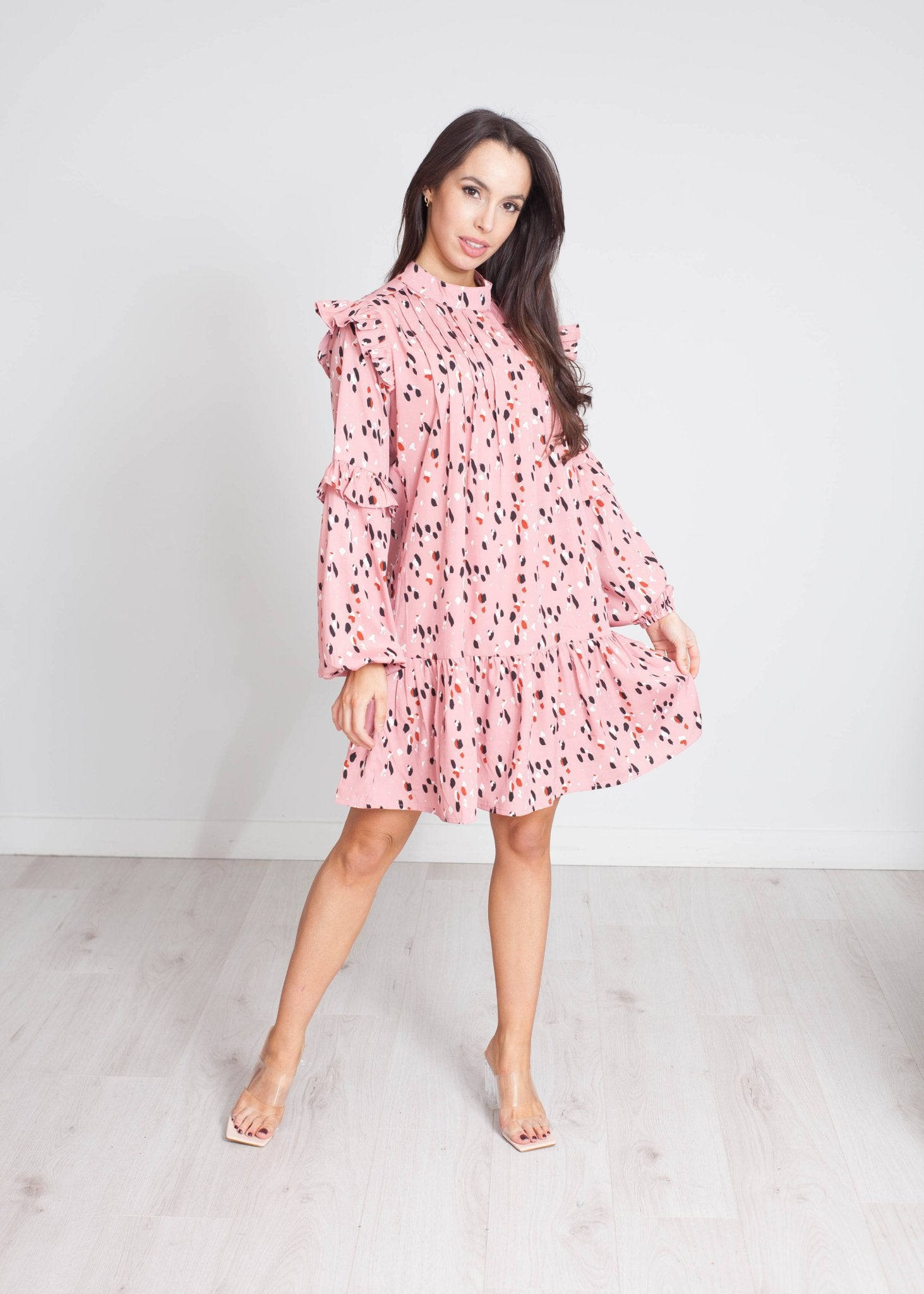 Freya Print Dress In Dusky Pink - The Walk in Wardrobe