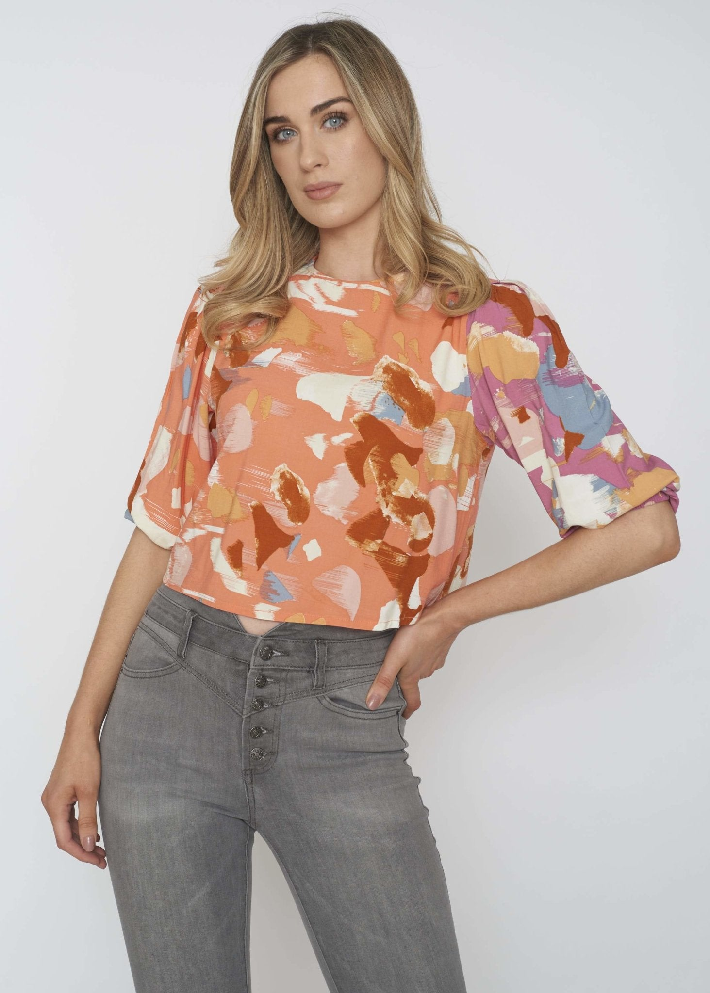 Freya Printed Top In Coral Mix - The Walk in Wardrobe