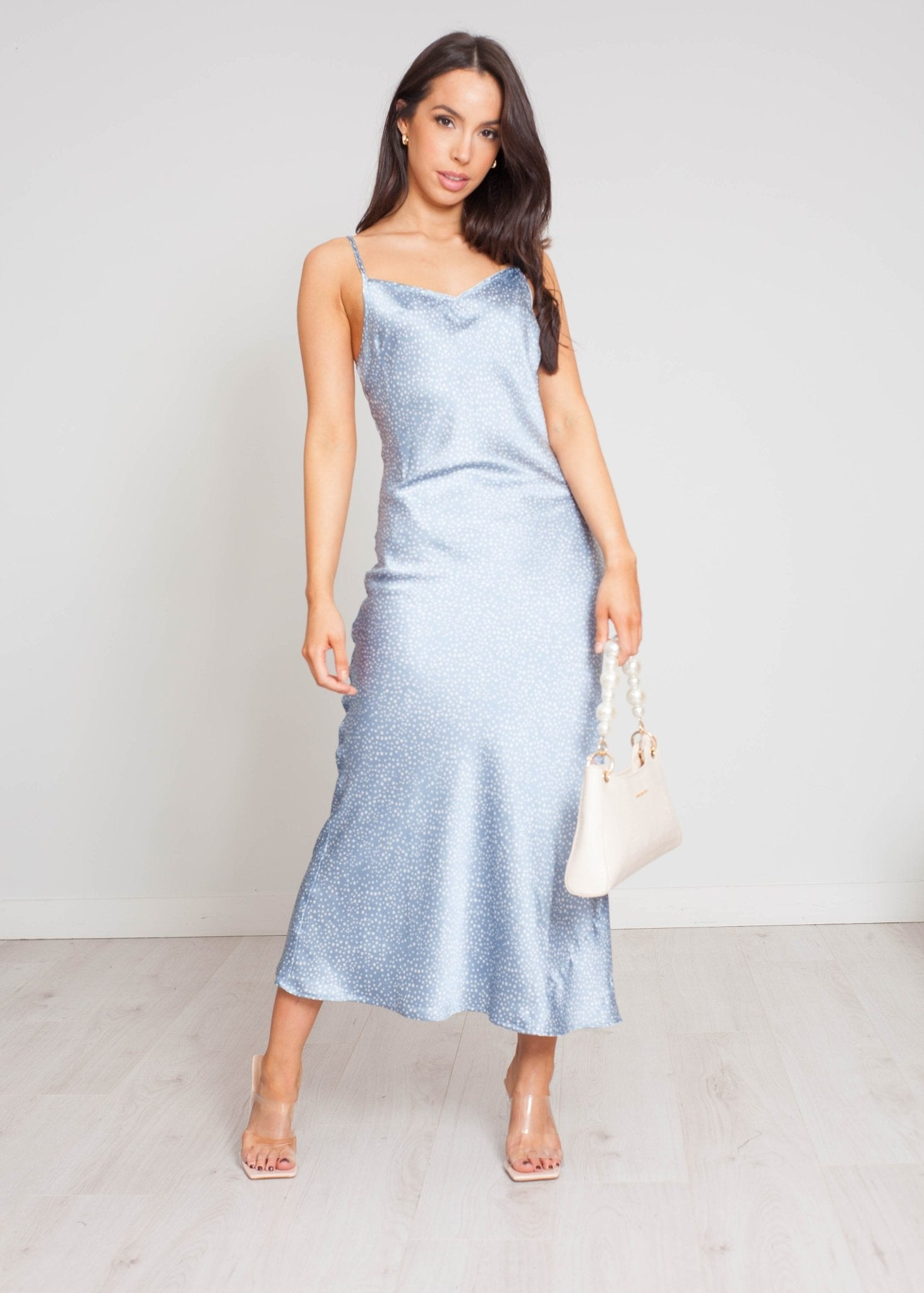 Freya Star Print Slip Dress In Blue - The Walk in Wardrobe