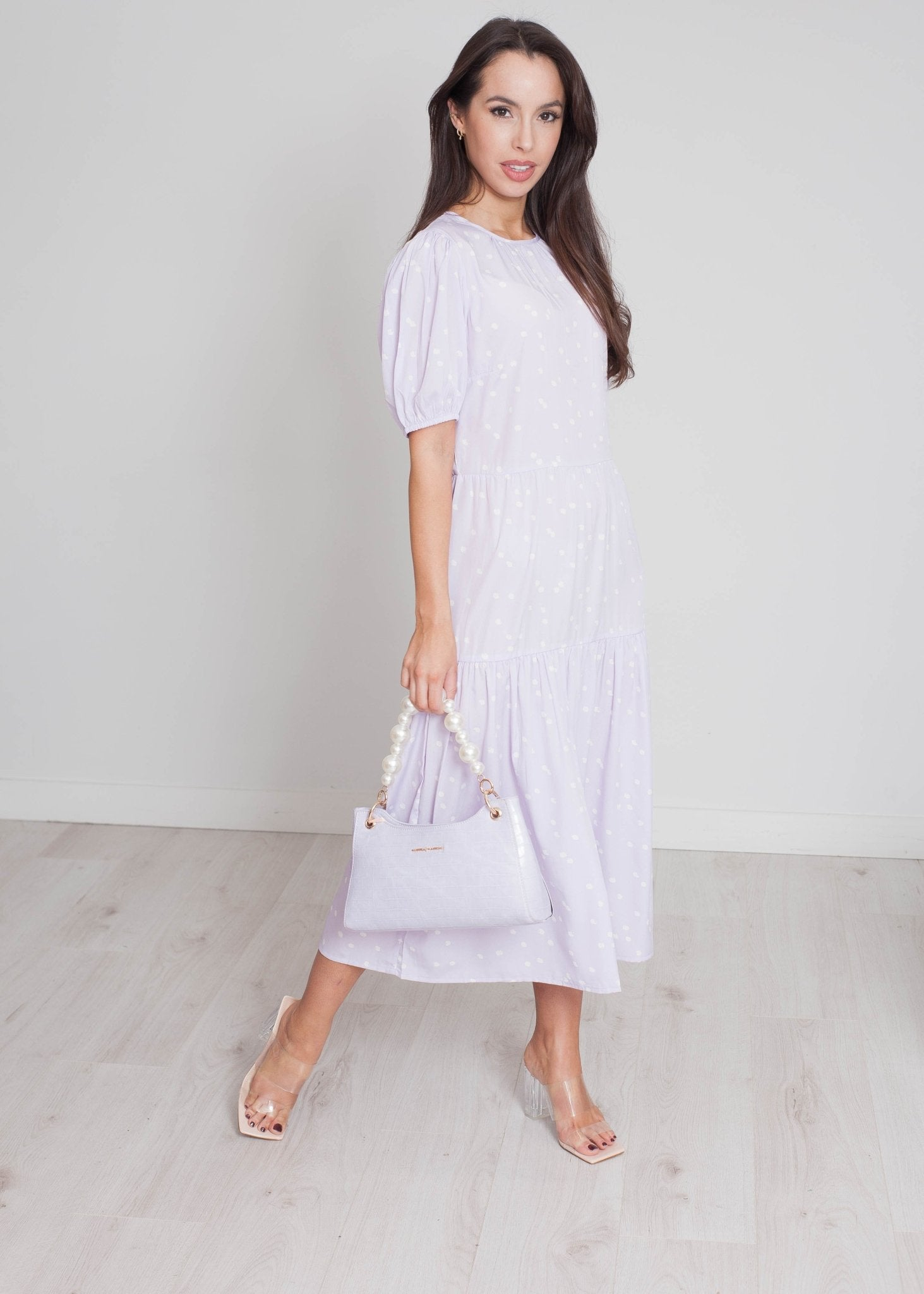 Freya Tiered Polka Dot Dress In Lilac - The Walk in Wardrobe