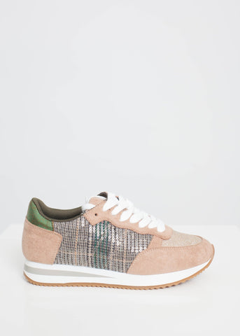 Gabby Check Trainer In Green Mix - The Walk in Wardrobe
