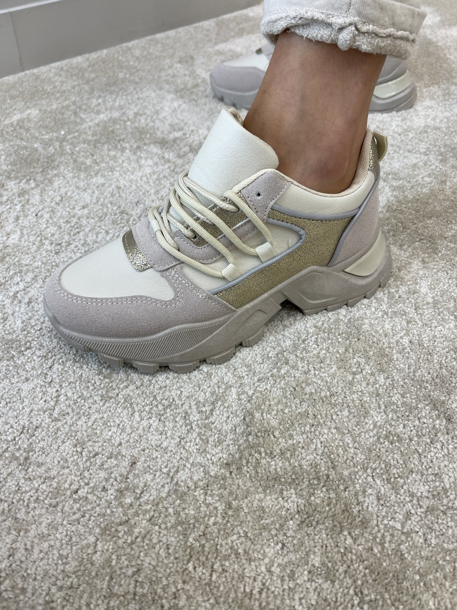Gabby Chunky Trainer In Neutral - The Walk in Wardrobe