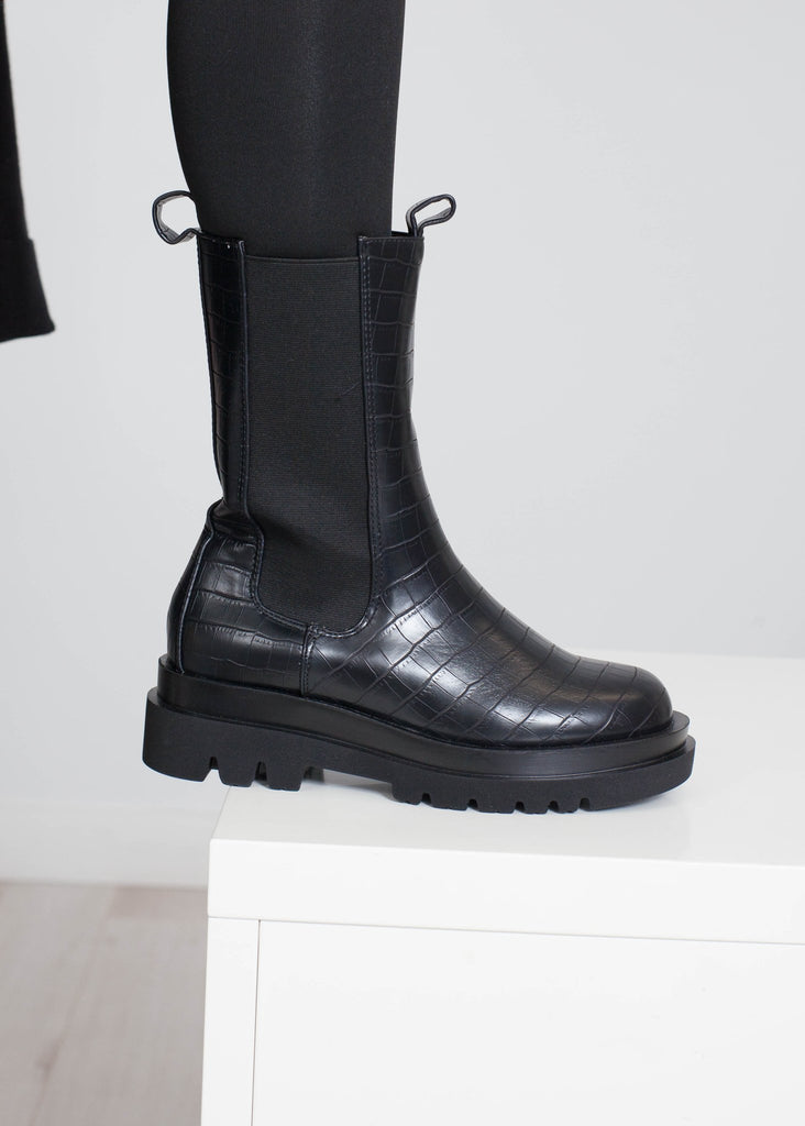 Gabby Croc Biker Boot In Black - The Walk in Wardrobe