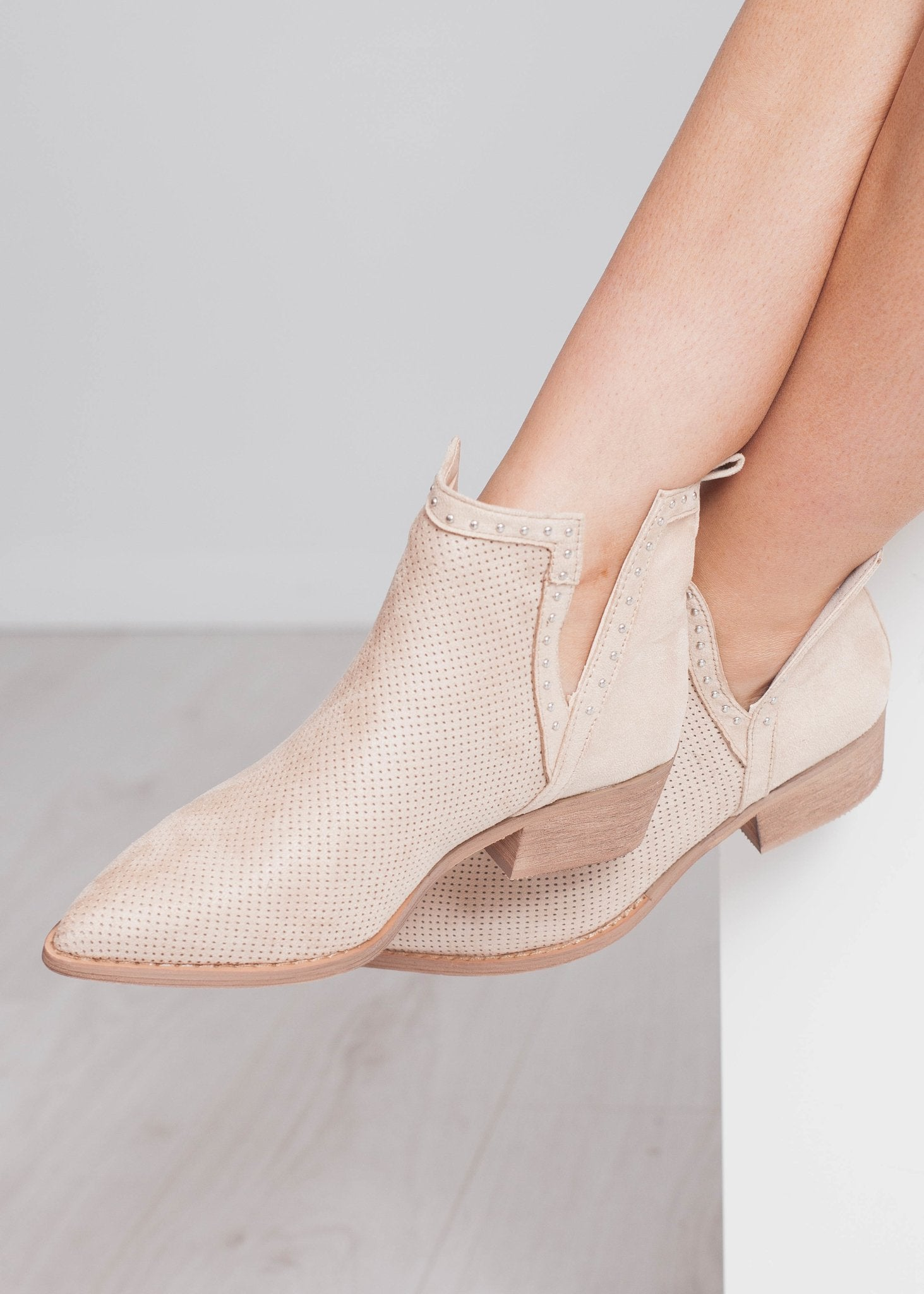 Gabby Cut Out Boot In Beige - The Walk in Wardrobe