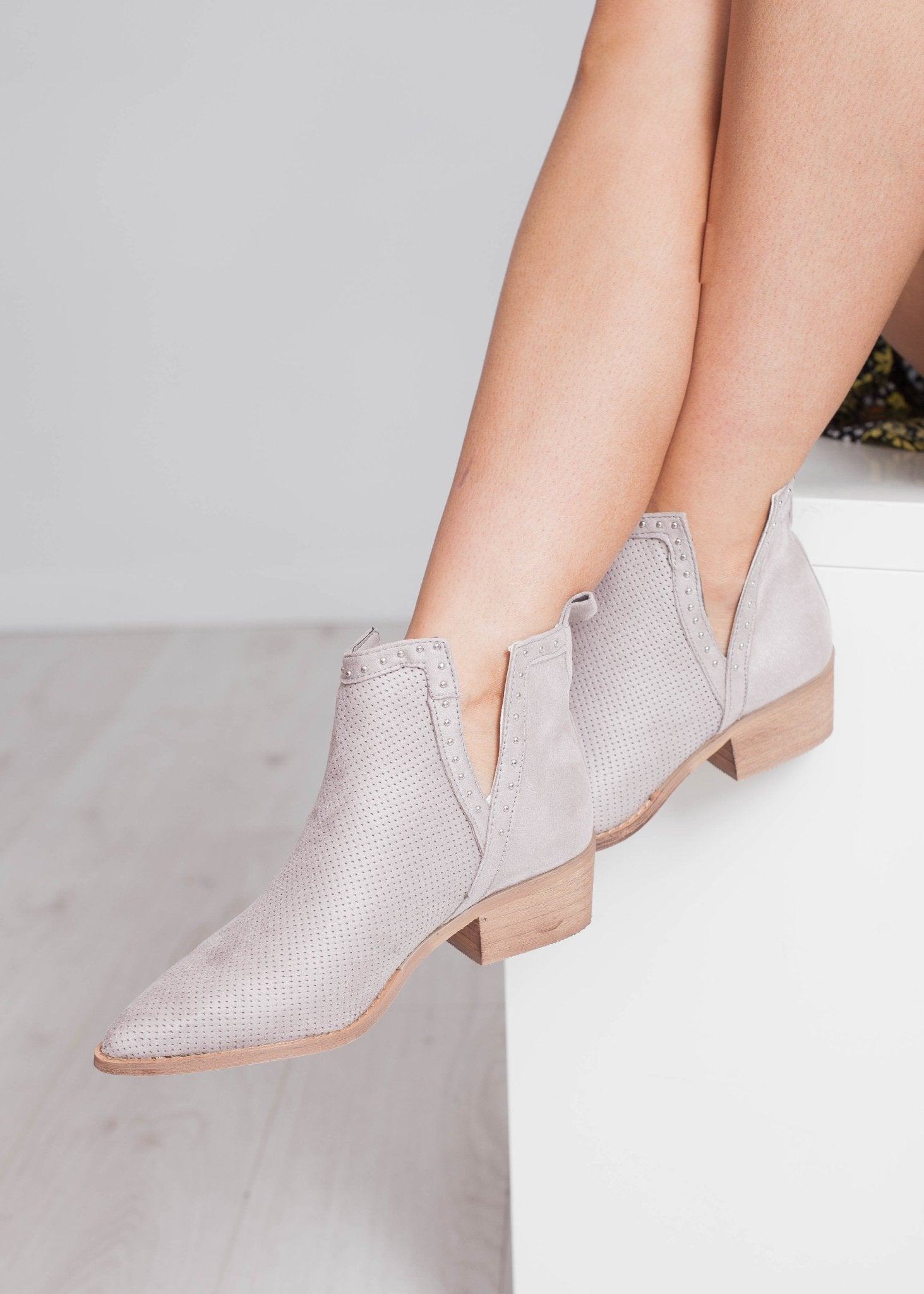 Gabby Cut Out Boot In Grey - The Walk in Wardrobe