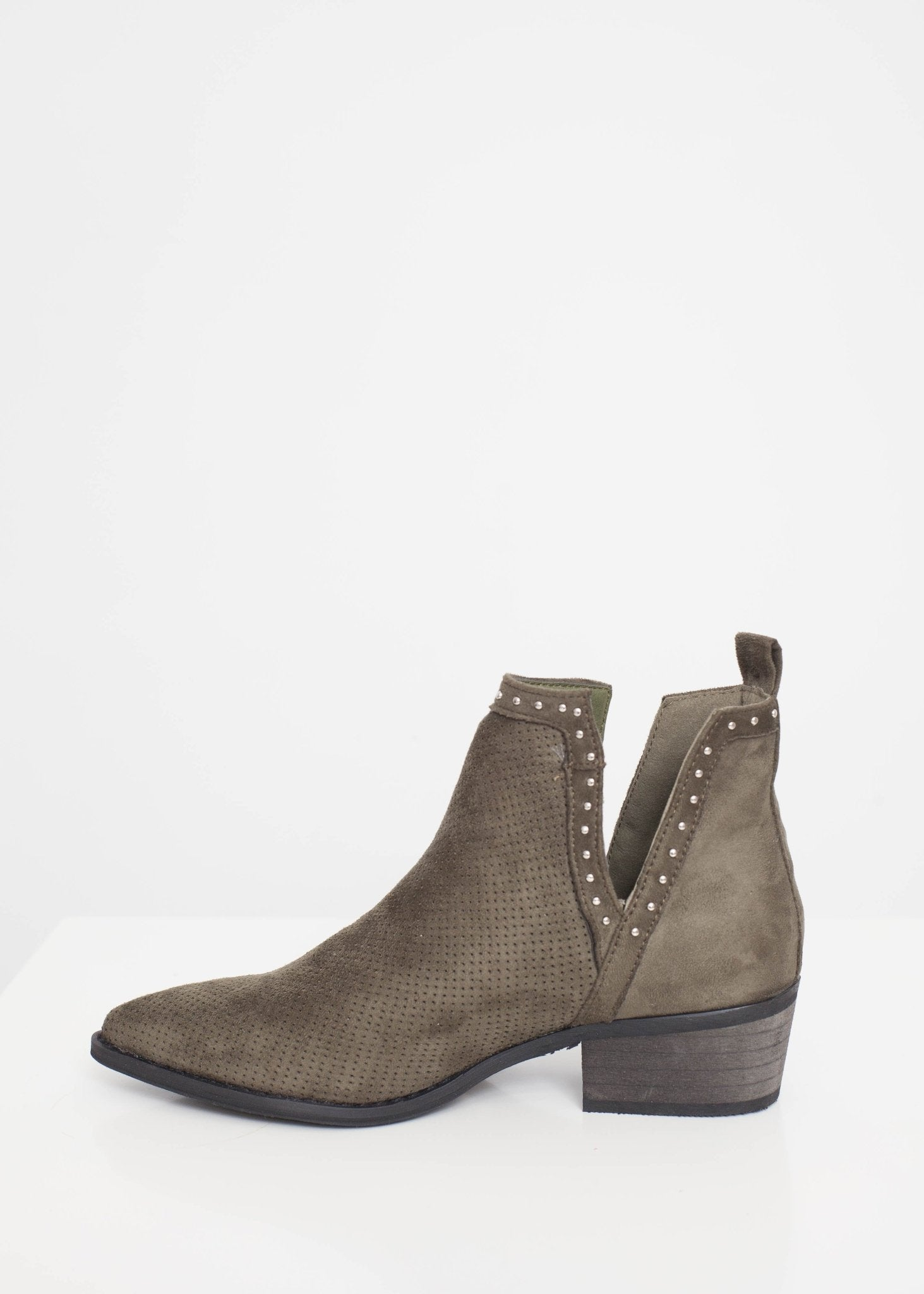 Gabby Cut Out Boot In Khaki - The Walk in Wardrobe