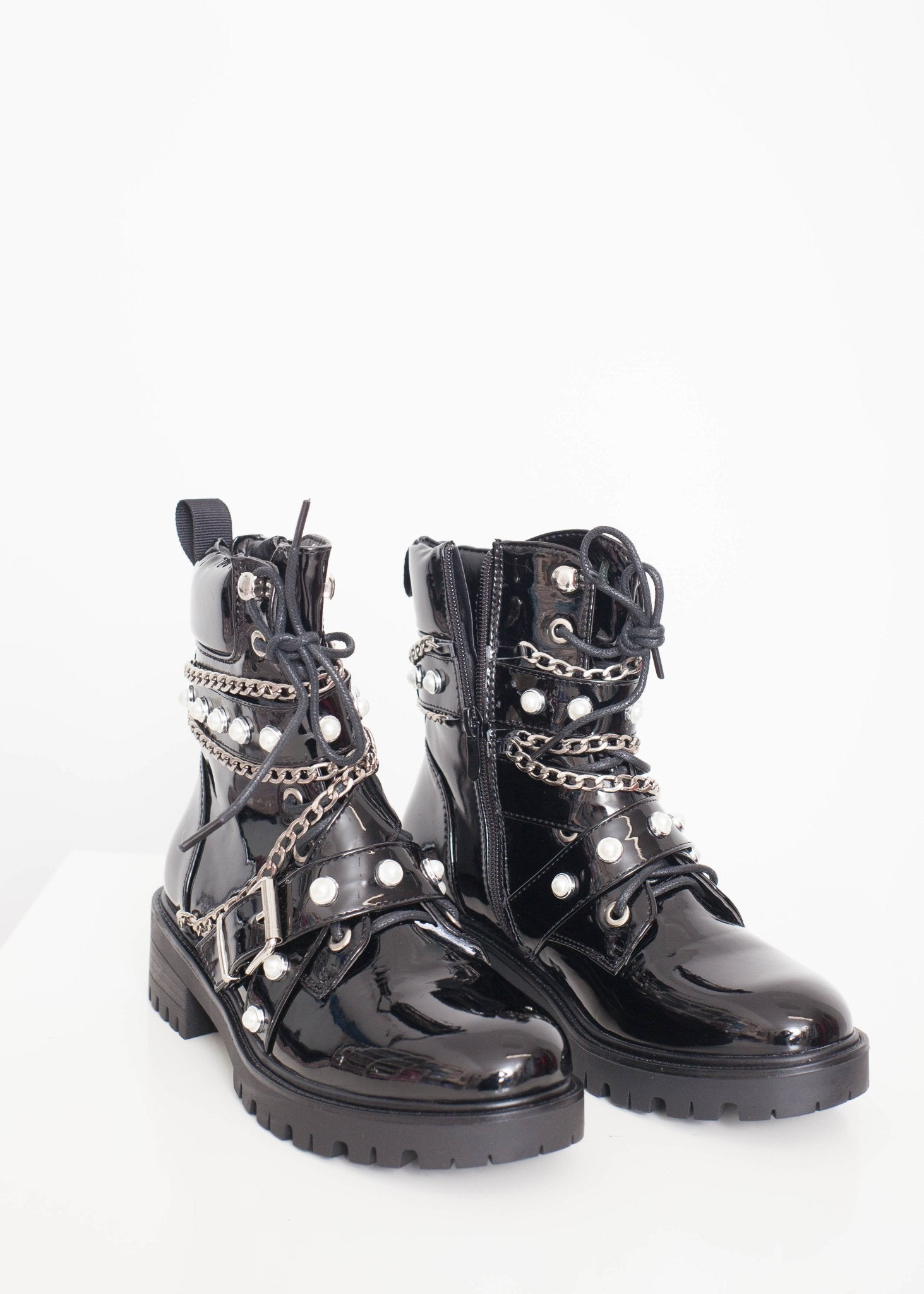 Gabby Detailed Biker Boot In Black - The Walk in Wardrobe