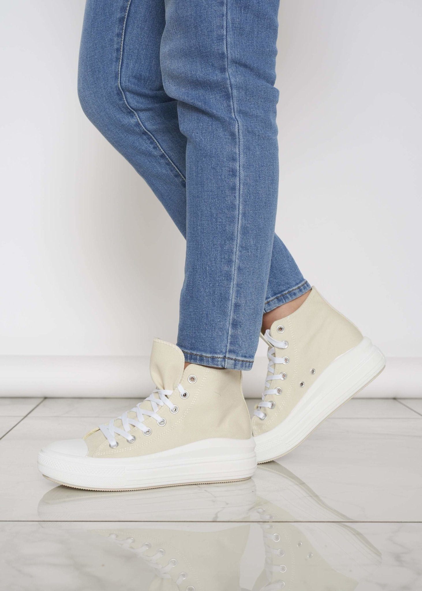Gabby High Top Trainer In Neutral - The Walk in Wardrobe