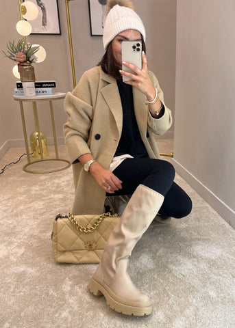 Gabby Knee High Biker Boot In Beige - The Walk in Wardrobe