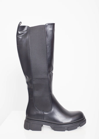 Gabby Longline Biker Boot In Black - The Walk in Wardrobe