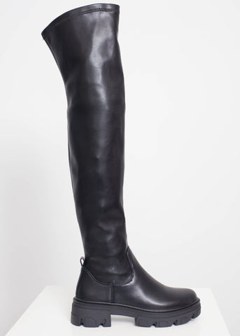 Gabby Over Knee Boot In Black - The Walk in Wardrobe