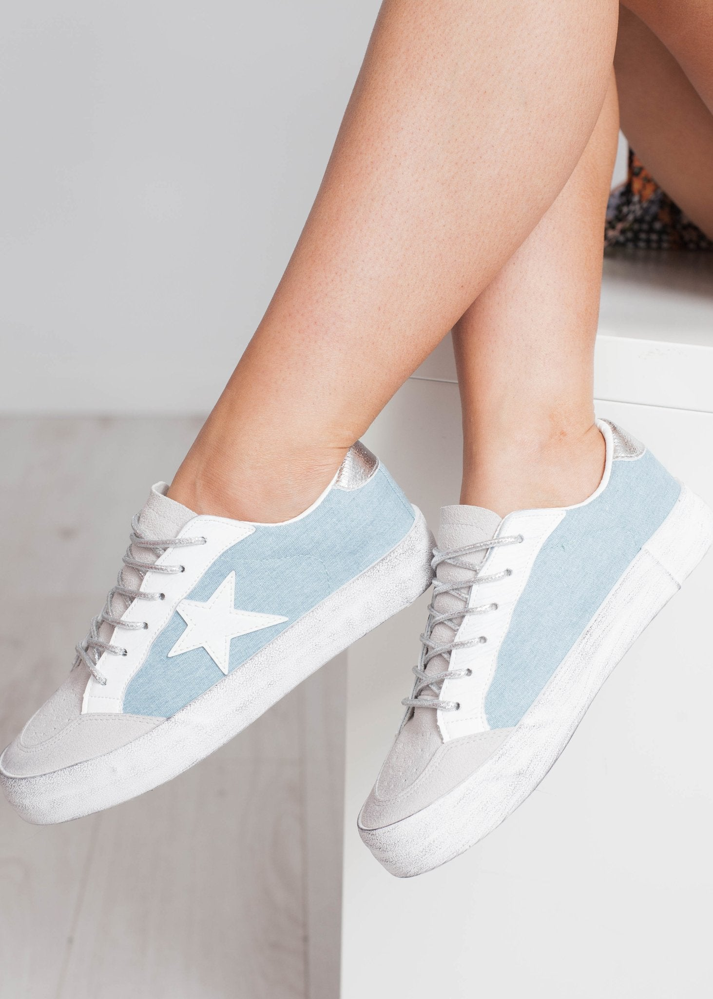 Gabby Star Trainer In Denim Mix - The Walk in Wardrobe