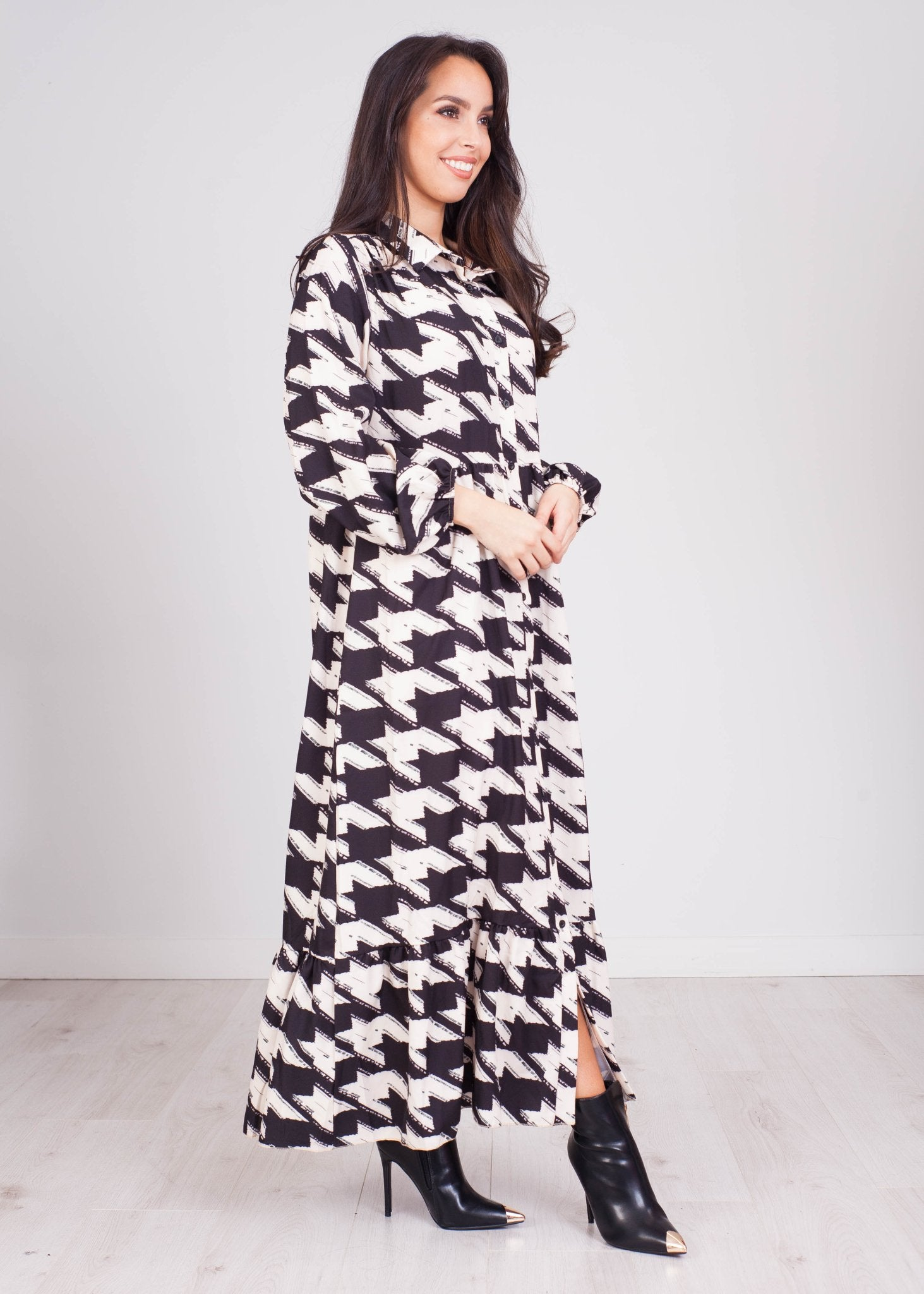 Gia Houndstooth Midi Dress - The Walk in Wardrobe