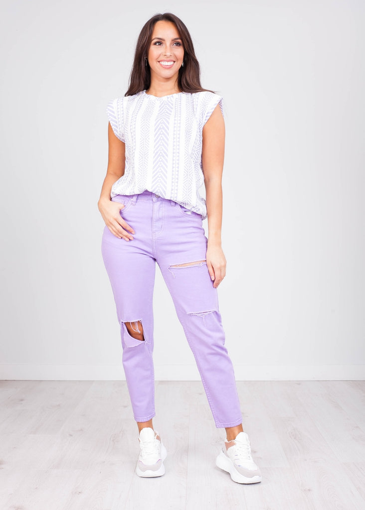 Gia Lilac Padded Top - The Walk in Wardrobe