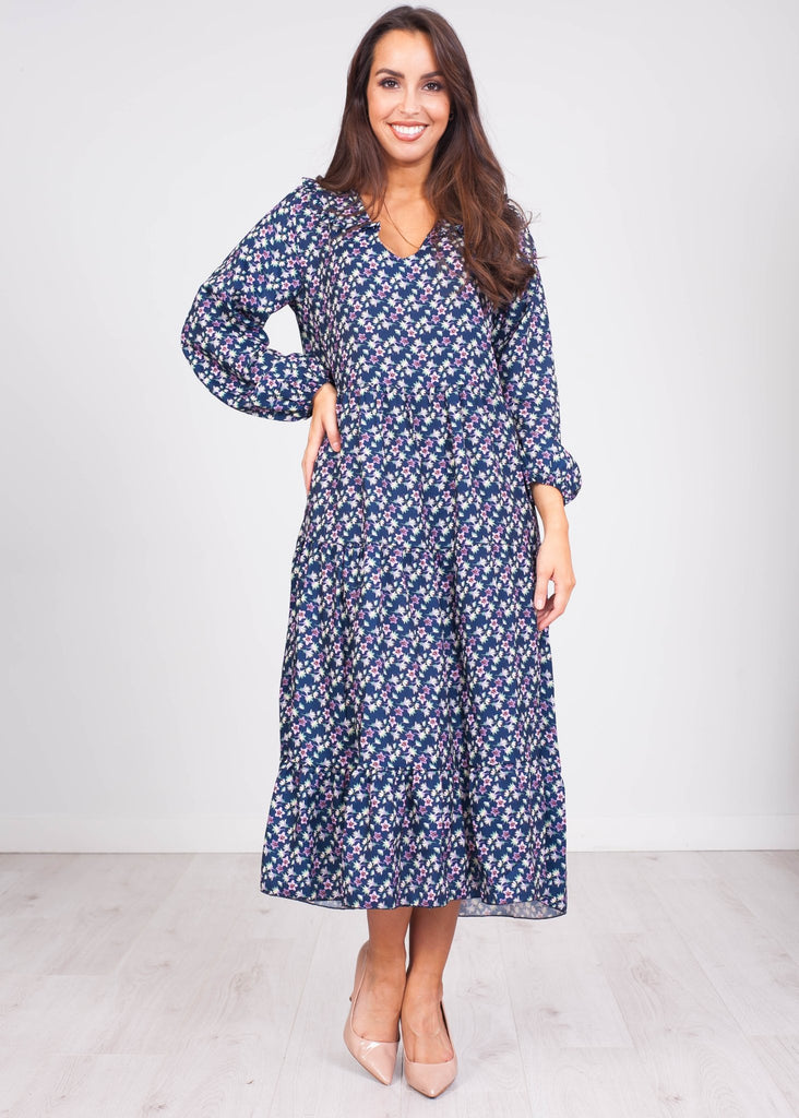 Gia Navy Floral Midi Dress - The Walk in Wardrobe