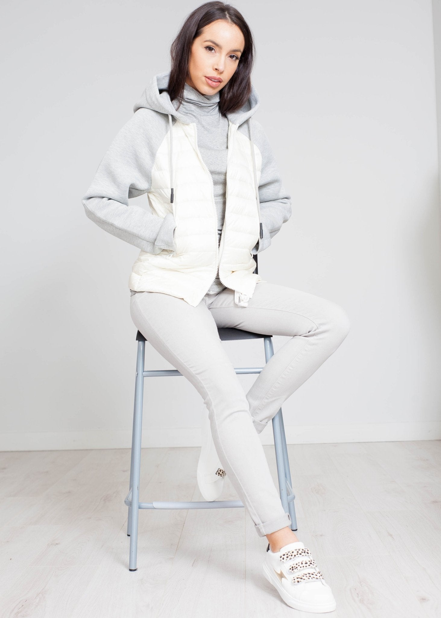 Gina Hooded Jacket In Cream Mix - The Walk in Wardrobe