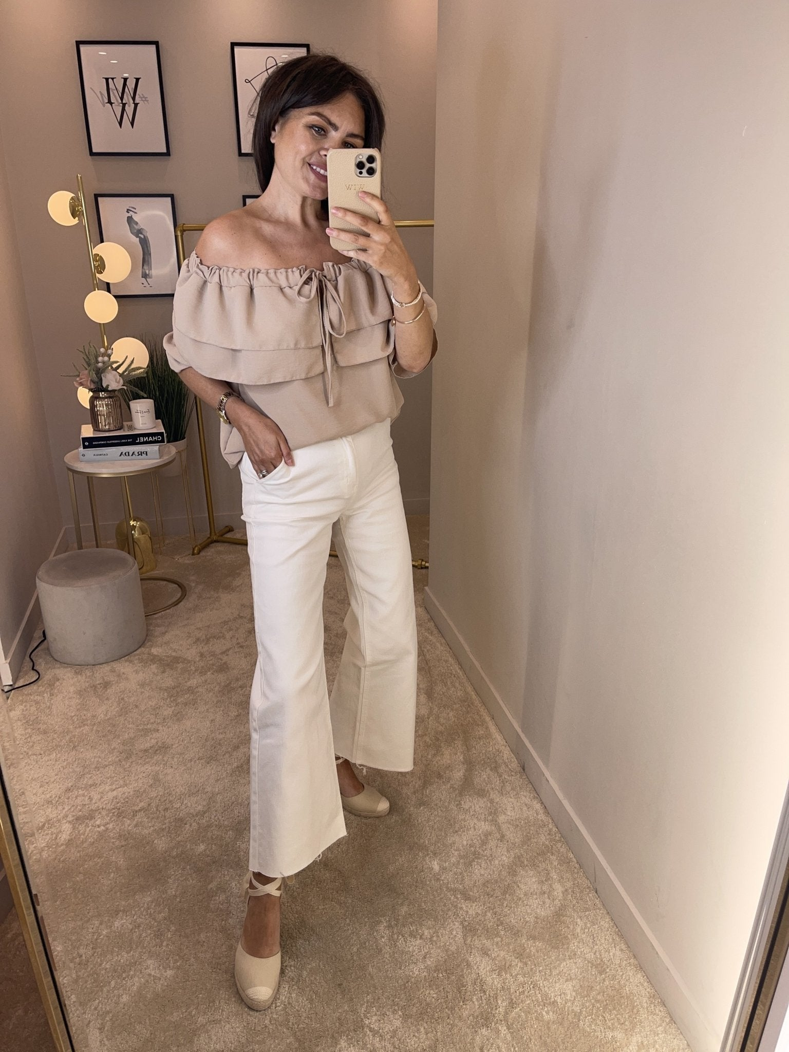 Hayley Wide Leg Jean In White - The Walk in Wardrobe