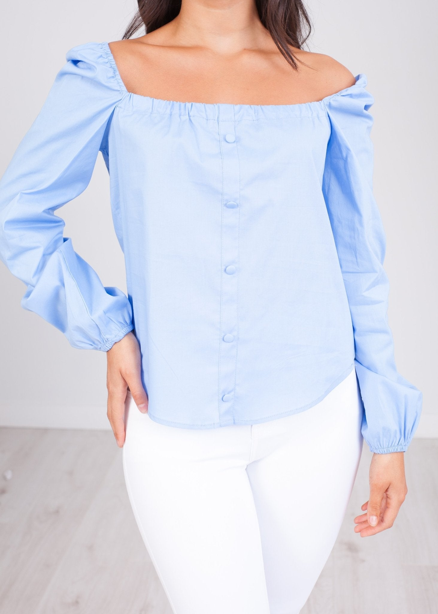 Heidi Blue Bardot Top - The Walk in Wardrobe