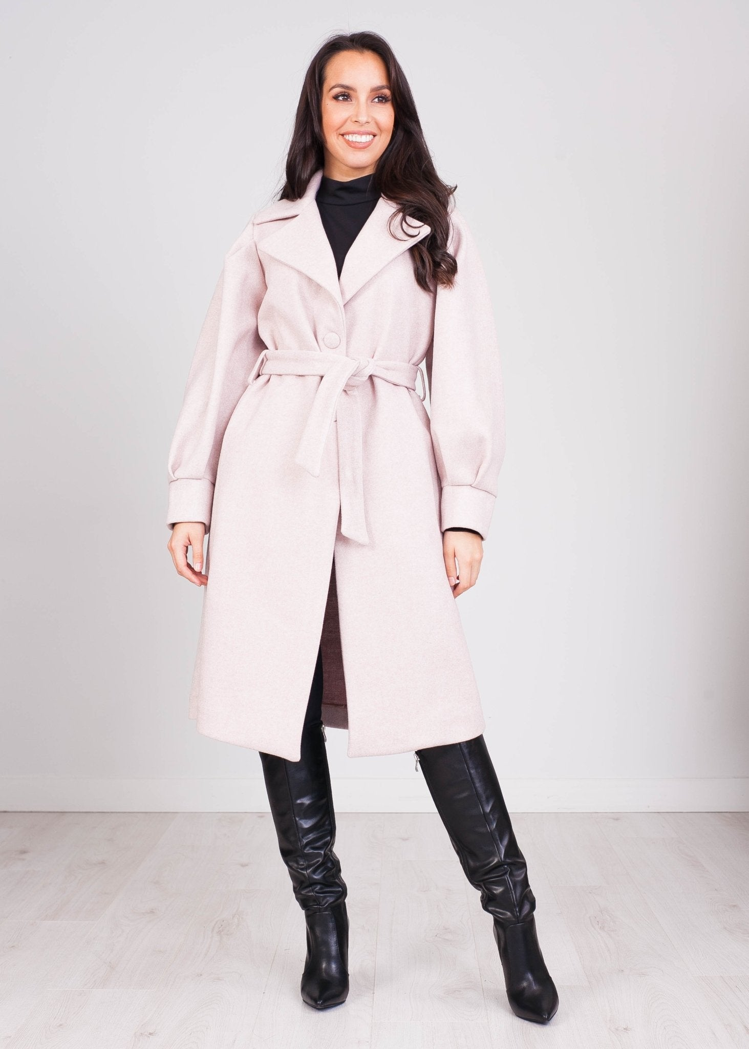 Heidi Blush Tie Waist Coat - The Walk in Wardrobe