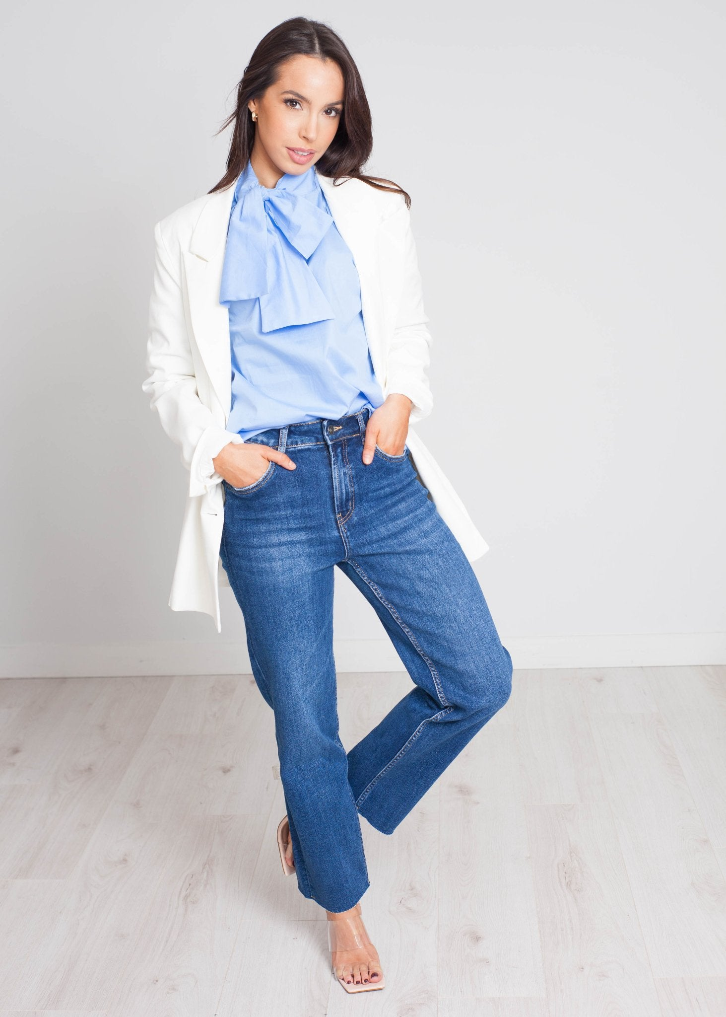 Heidi Bow Blouse In Blue - The Walk in Wardrobe