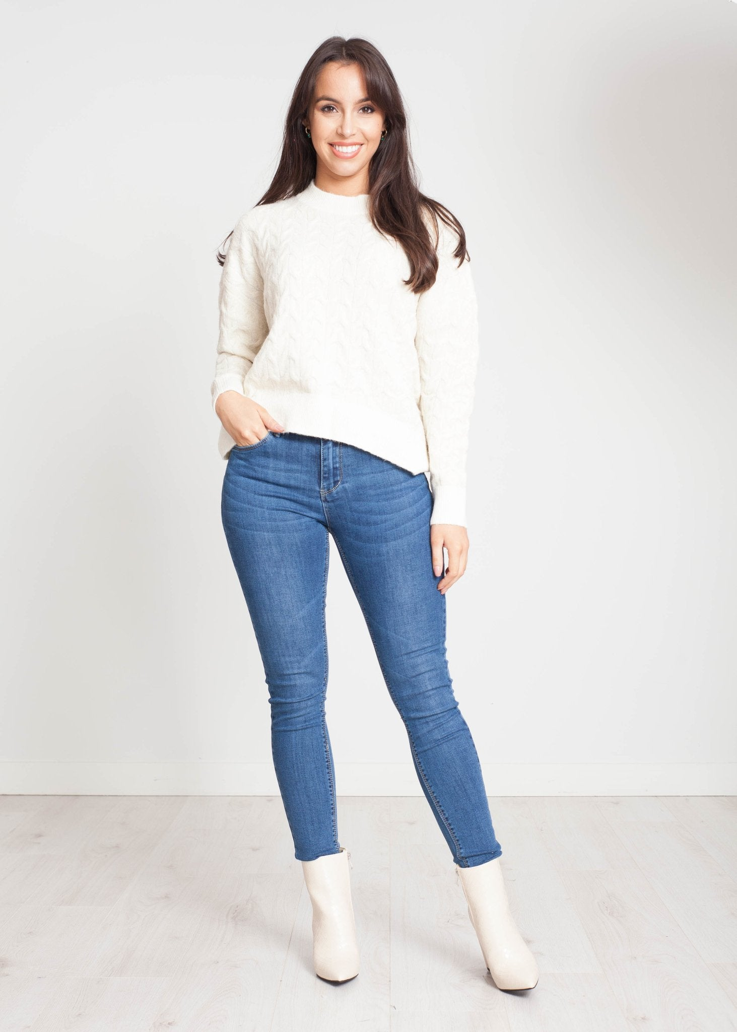 Heidi Cable Knit Jumper In Cream - The Walk in Wardrobe