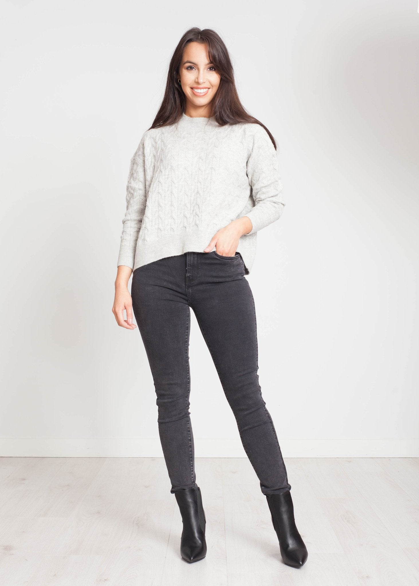 Heidi Cable Knit Jumper In Grey - The Walk in Wardrobe